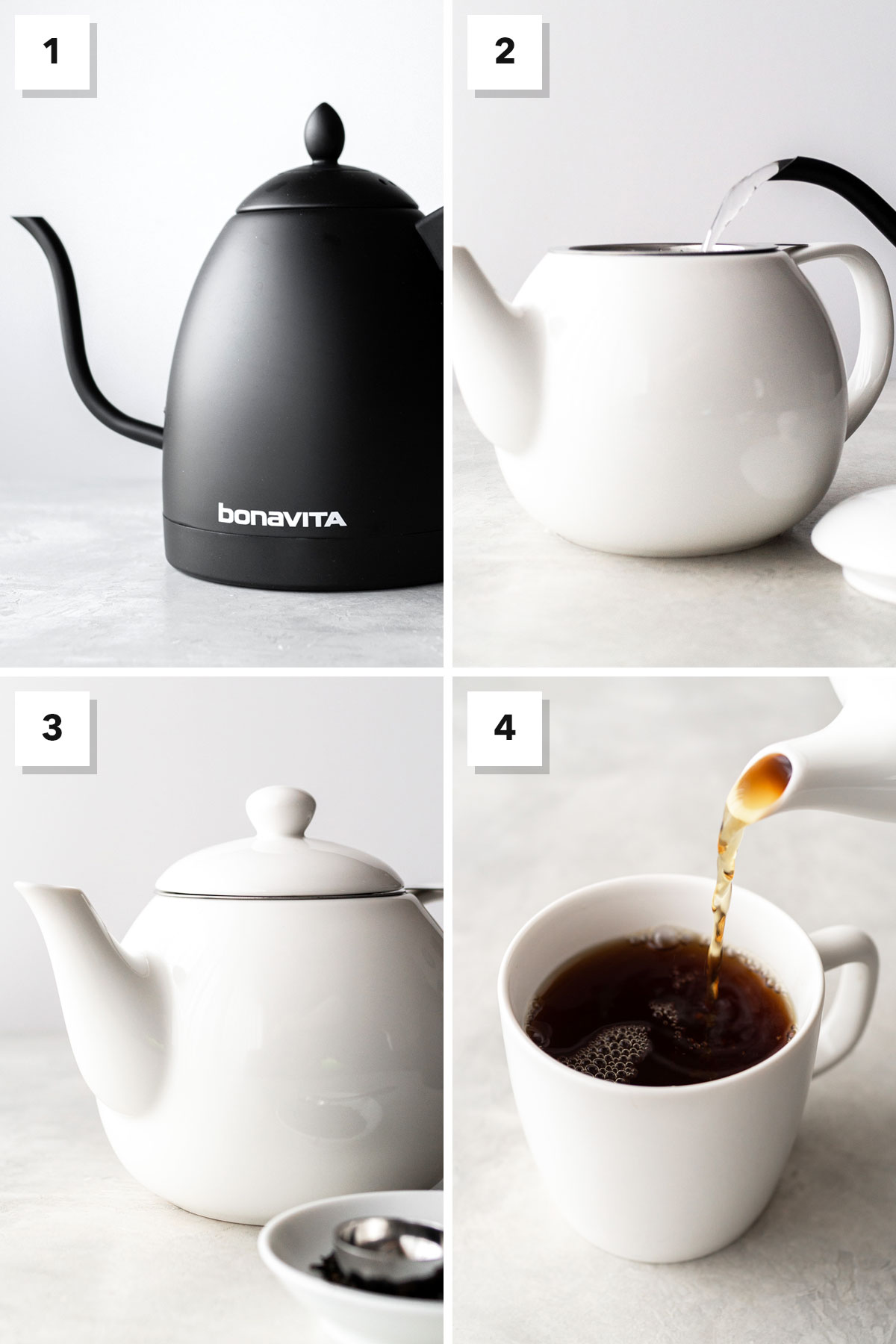 Four photo collage showing steps to make hot Earl Grey tea.