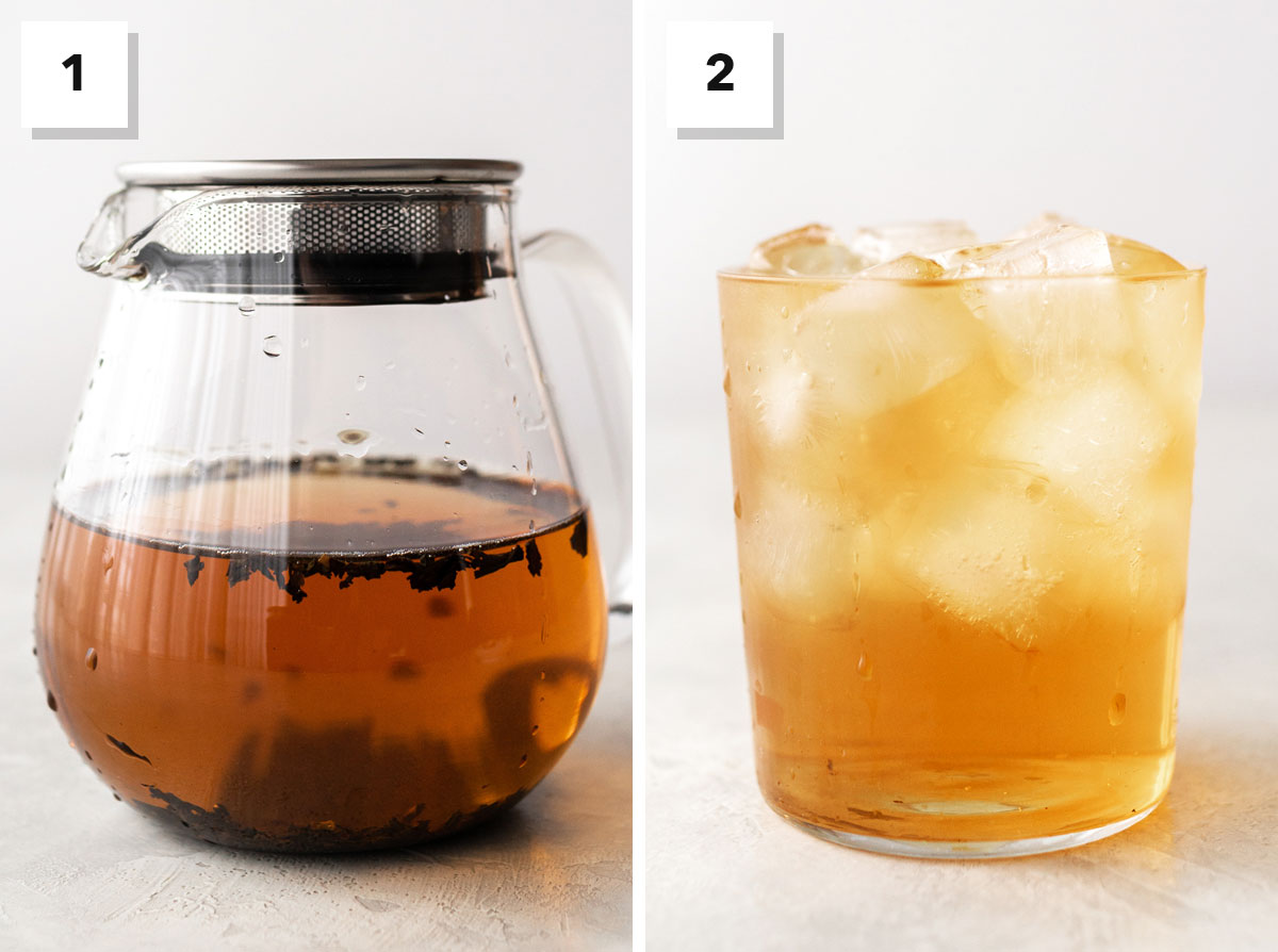 Two photo collage showing steps to make cold brew tea.
