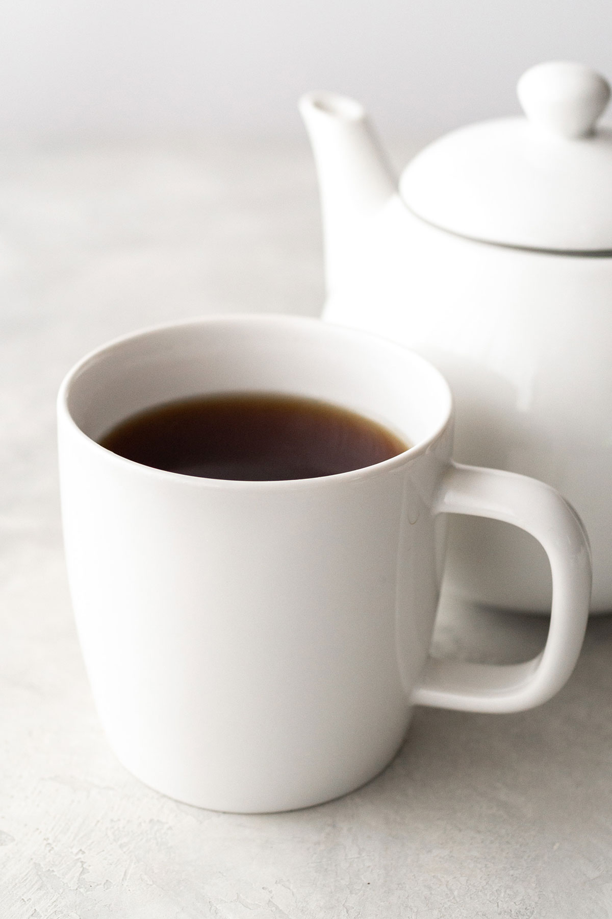 Earl Grey tea in a white ceramic mug.