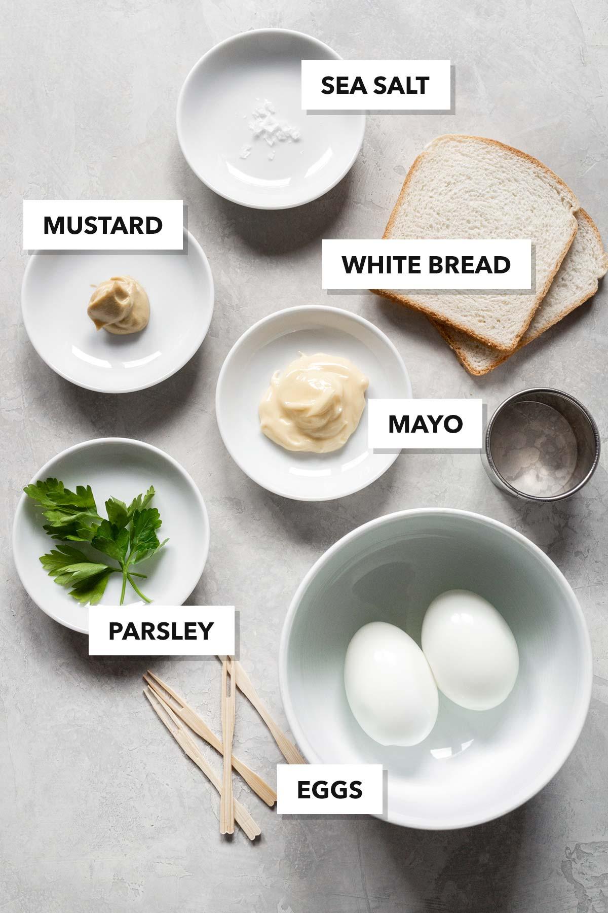 Egg salad tea sandwich ingredients.