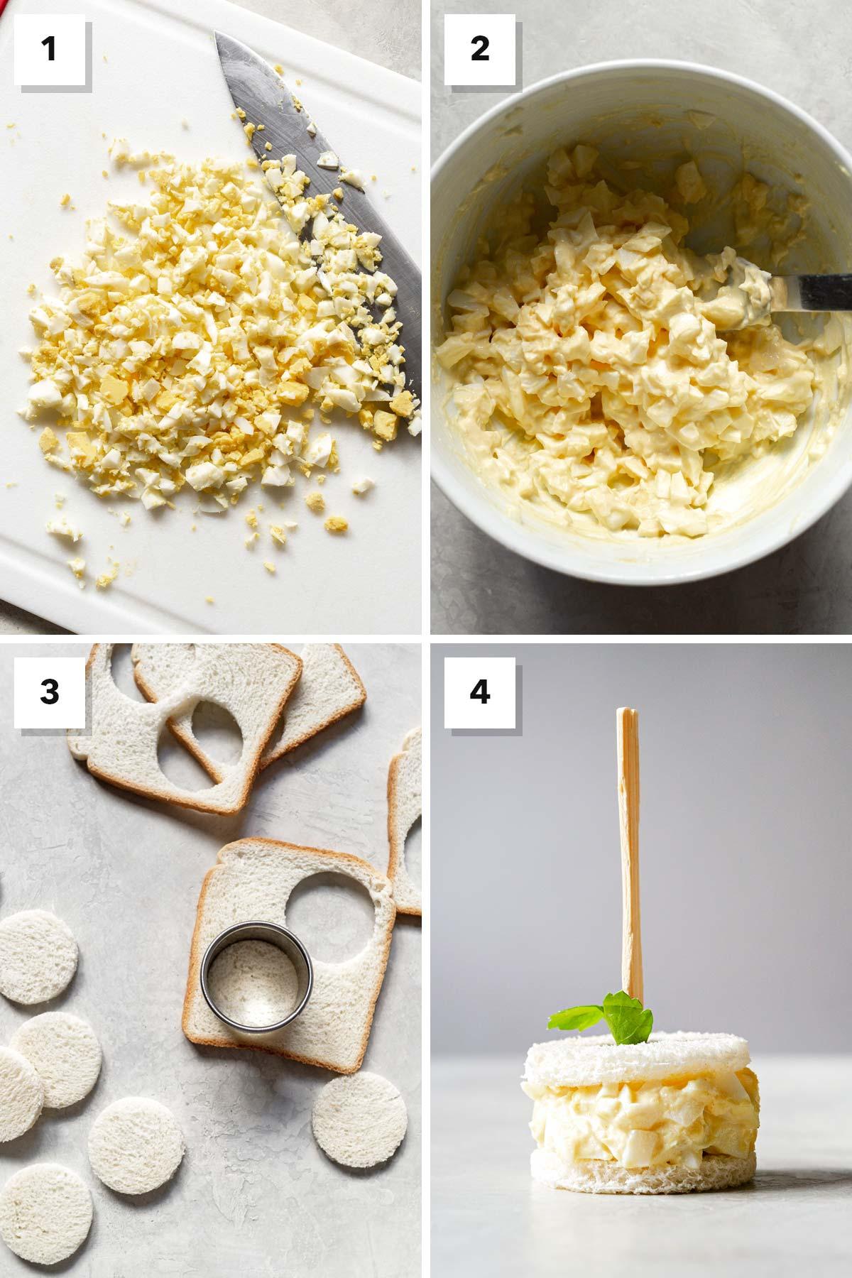 Steps to make egg salad tea sandwiches.