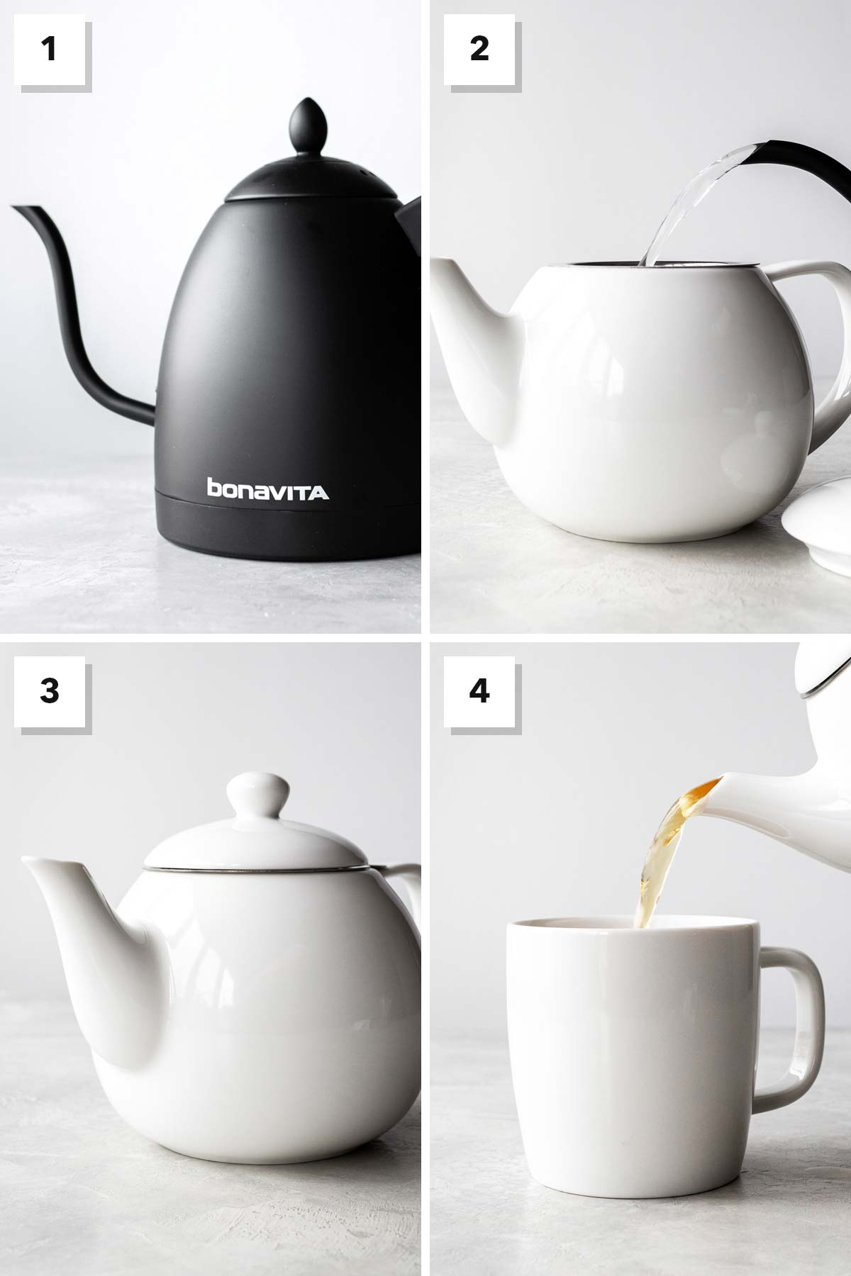 Four photo collage showing steps to make hot English breakfast tea.