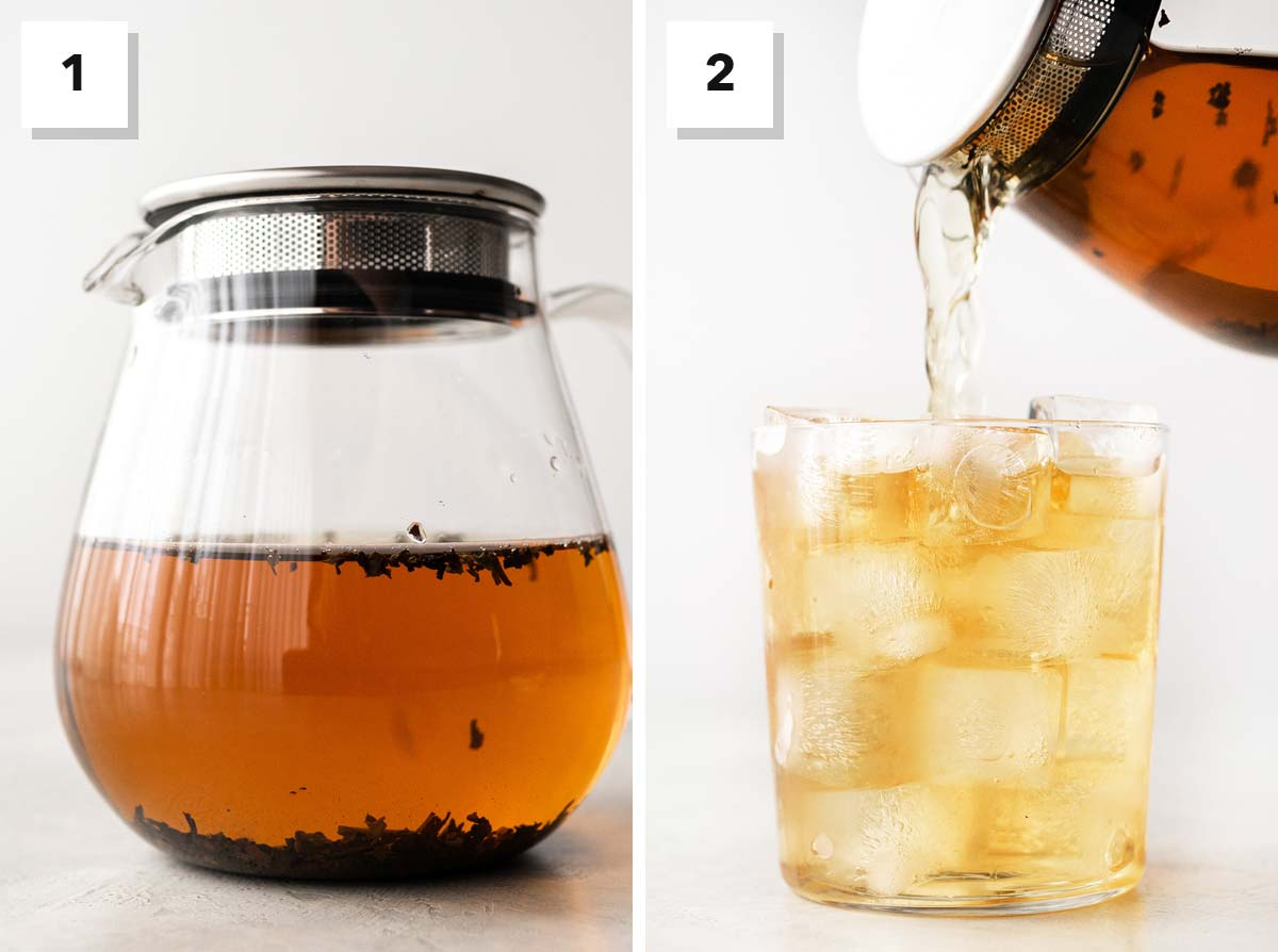 Two photos showing steps to make cold brew English breakfast tea.