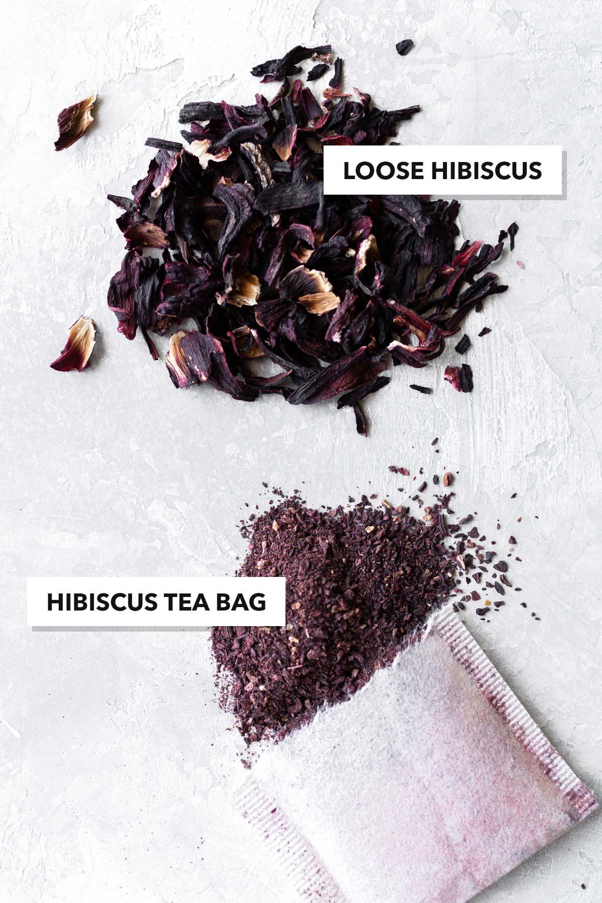 Hibiscus loose tea and hibiscus in tea bag.