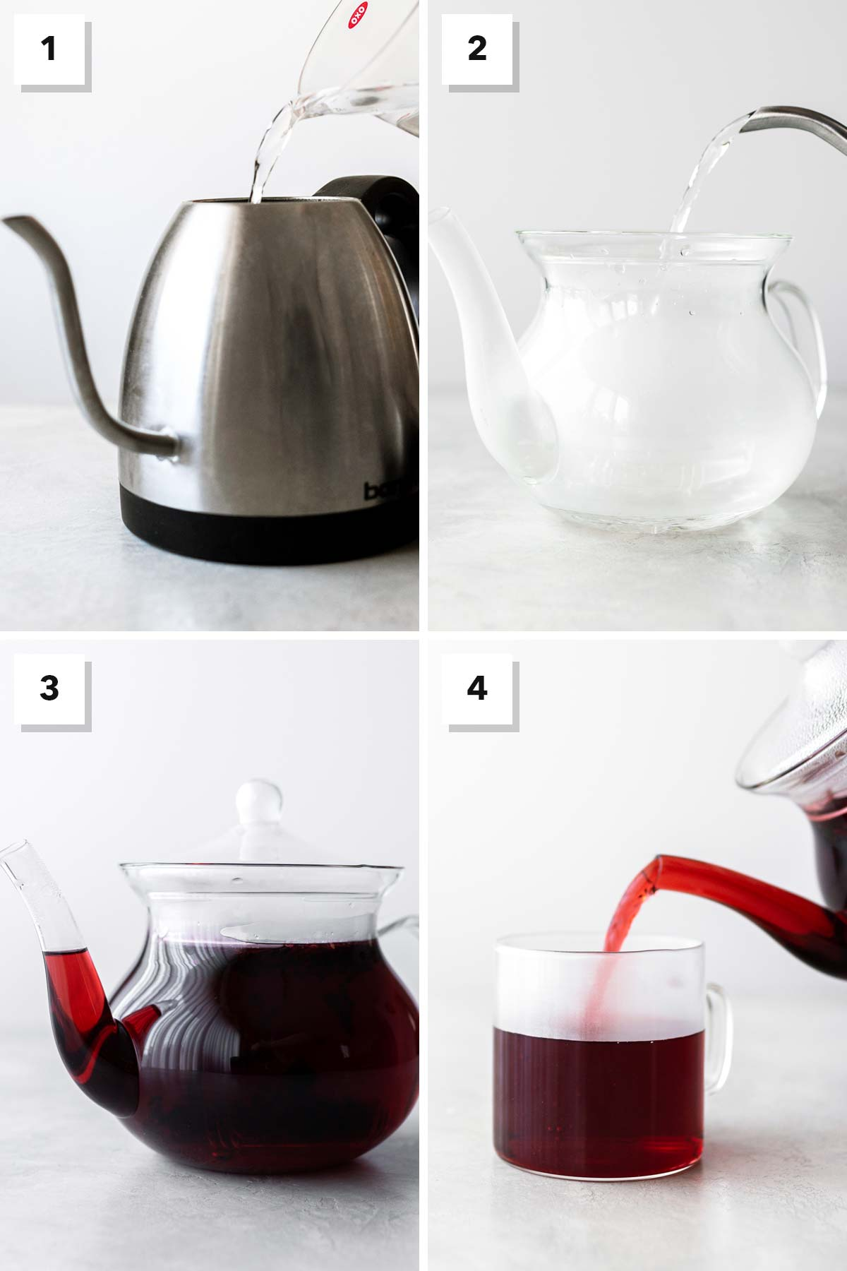Four photo collage showing steps to make hibiscus tea.