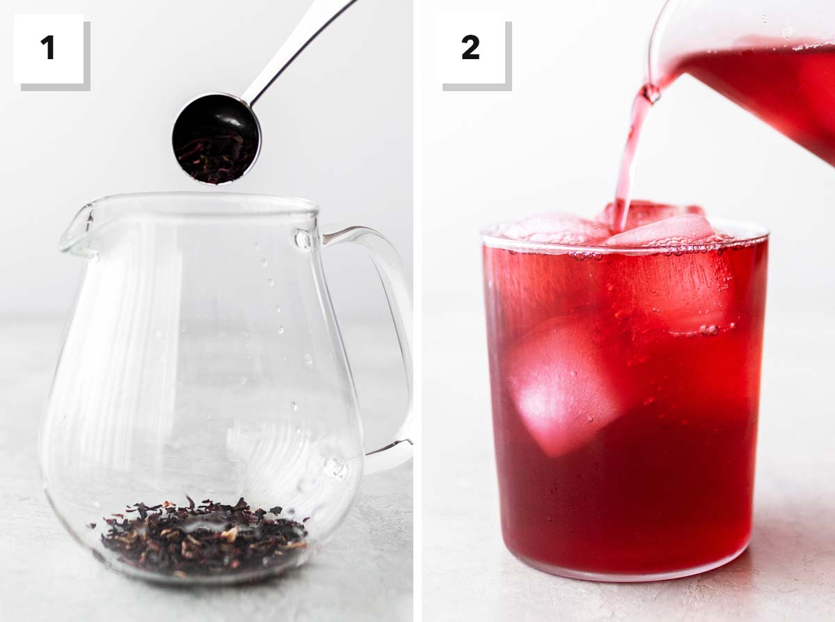 Two photo collage showing steps to make cold brew hibiscus tea.