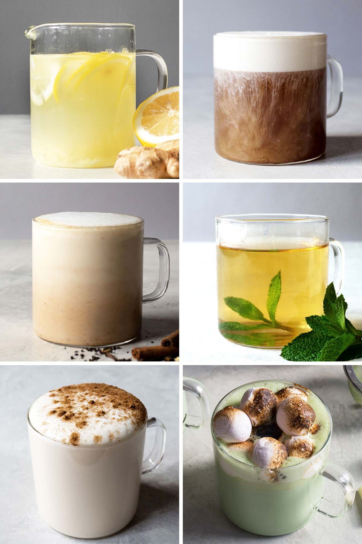 Six photo collage showing different tea beverages.