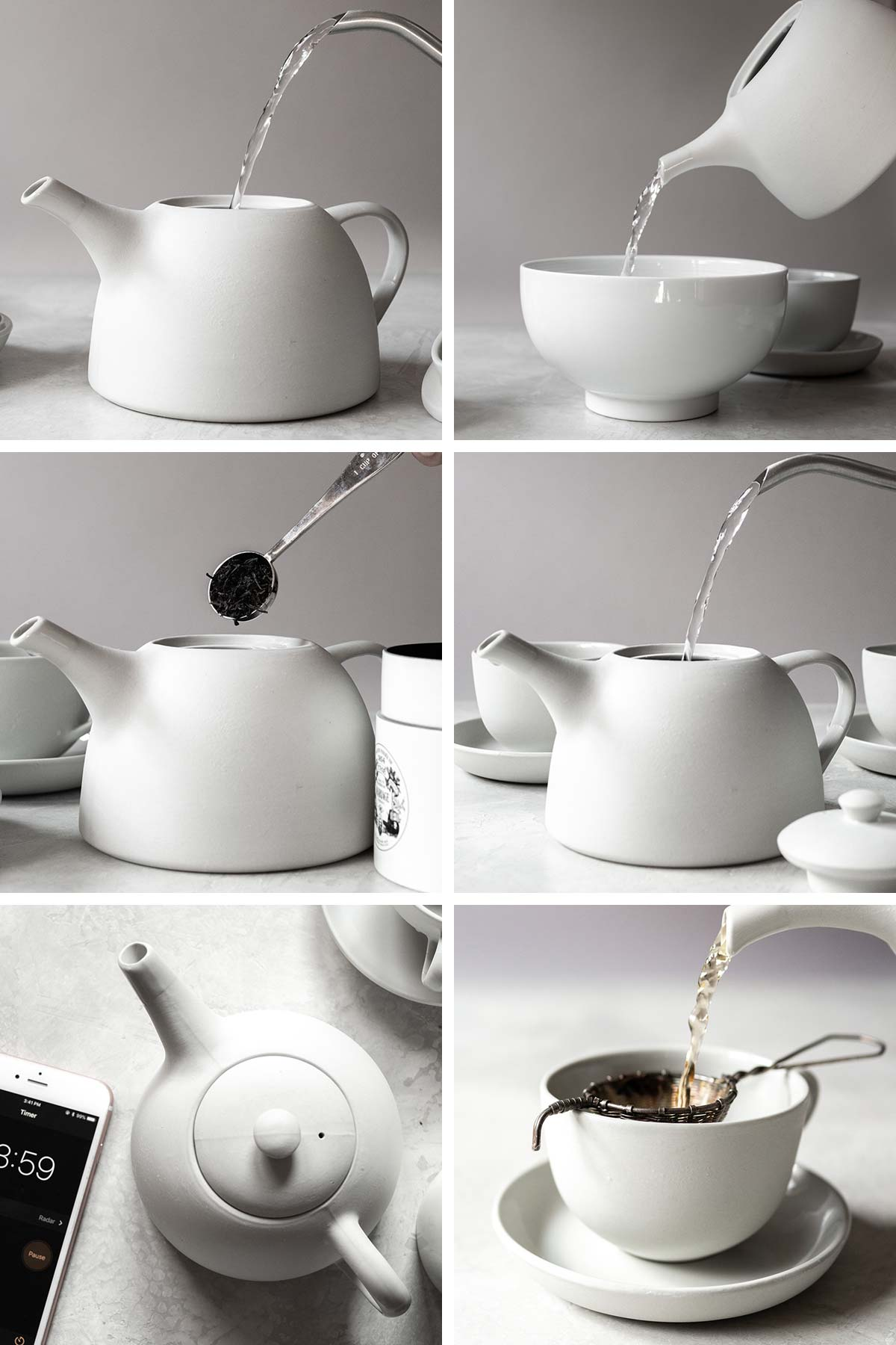6 photos showing steps to make tea.