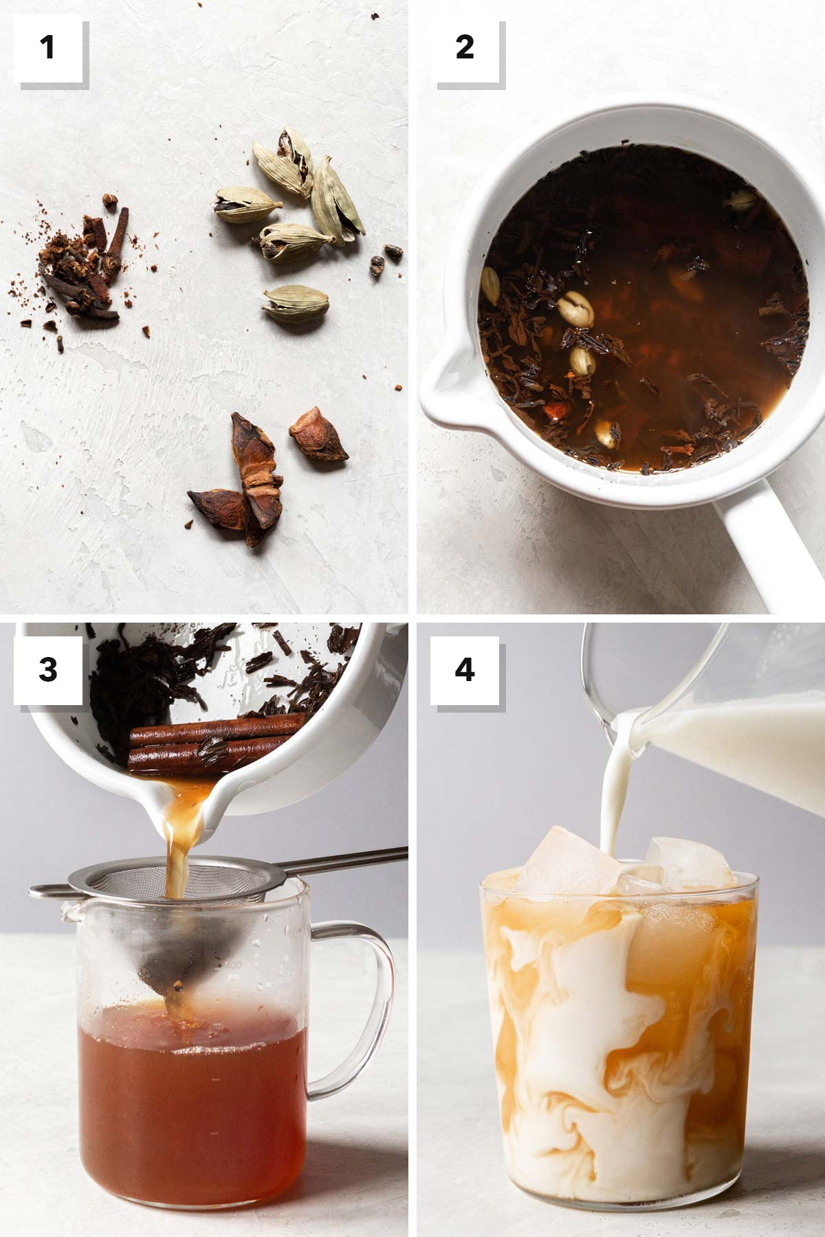 Four photo collage showing steps to make an iced chai latte.