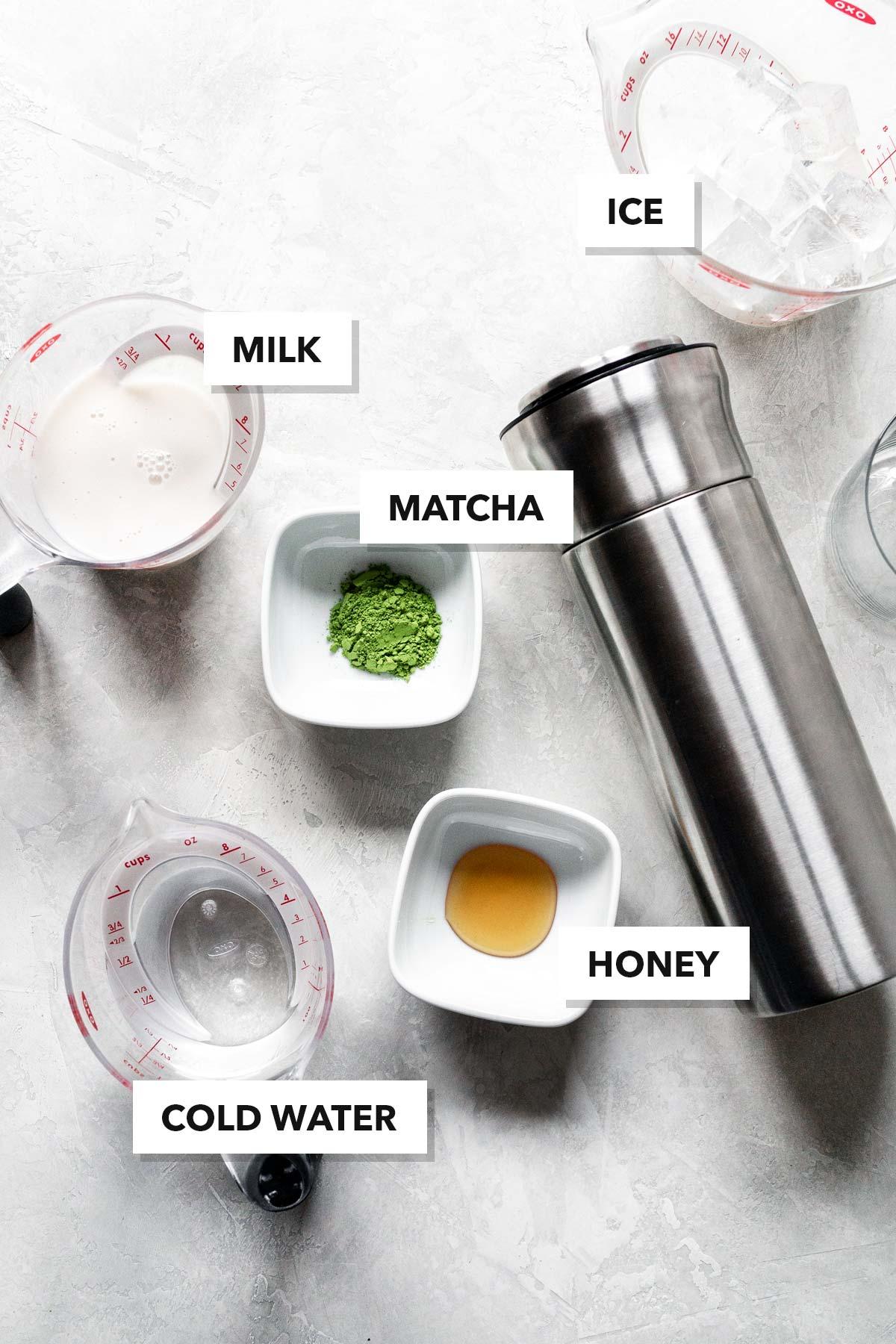 Matcha green tea latte ingredients.