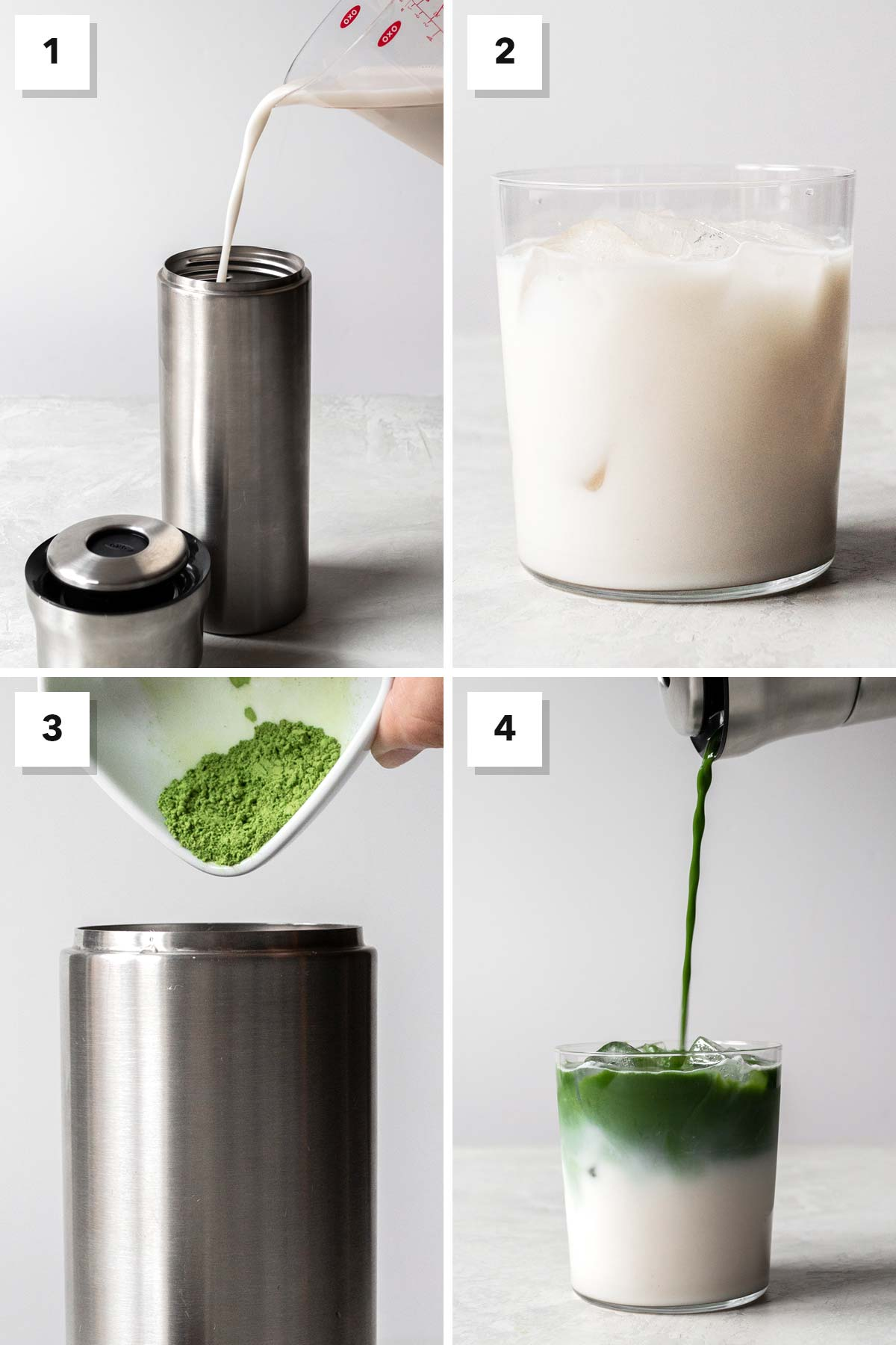 Four image collage showing steps to make a matcha iced latte.