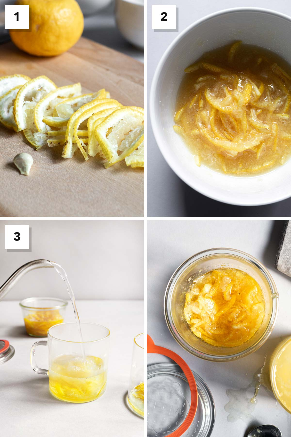 Four photo collage of step-by-step on how to make honey citron tea.
