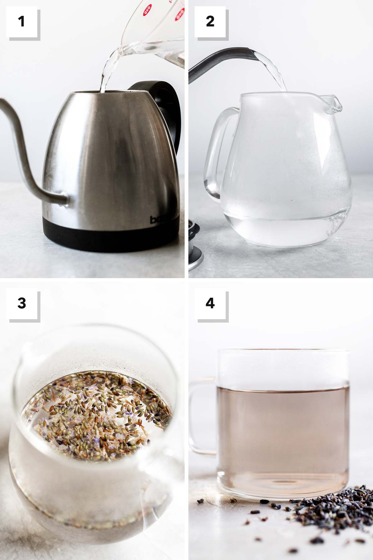 Four photo collage showing steps on how to make lavender tea.