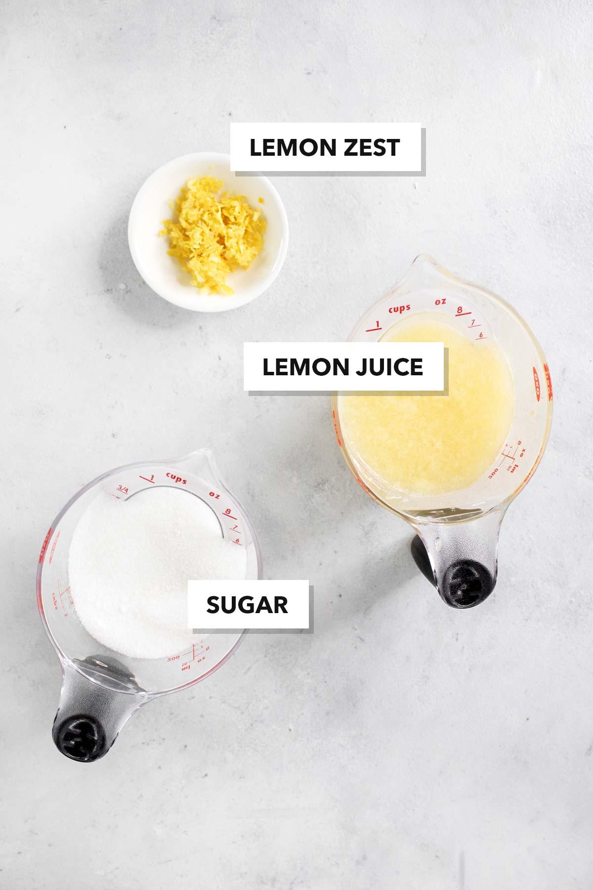 Simple Homemade Lemon Syrup Ingredients.