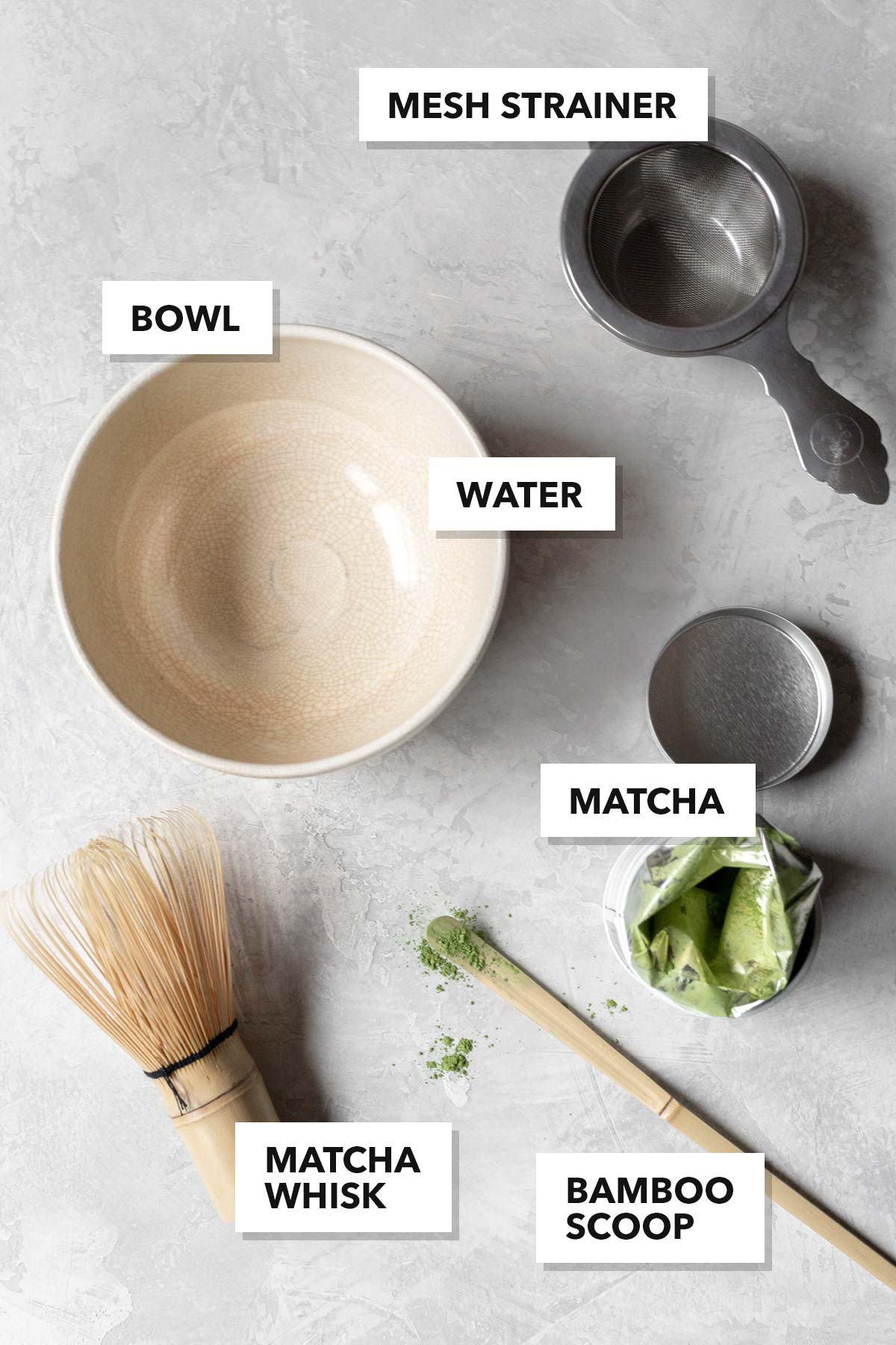 Matcha ingredients and tools.
