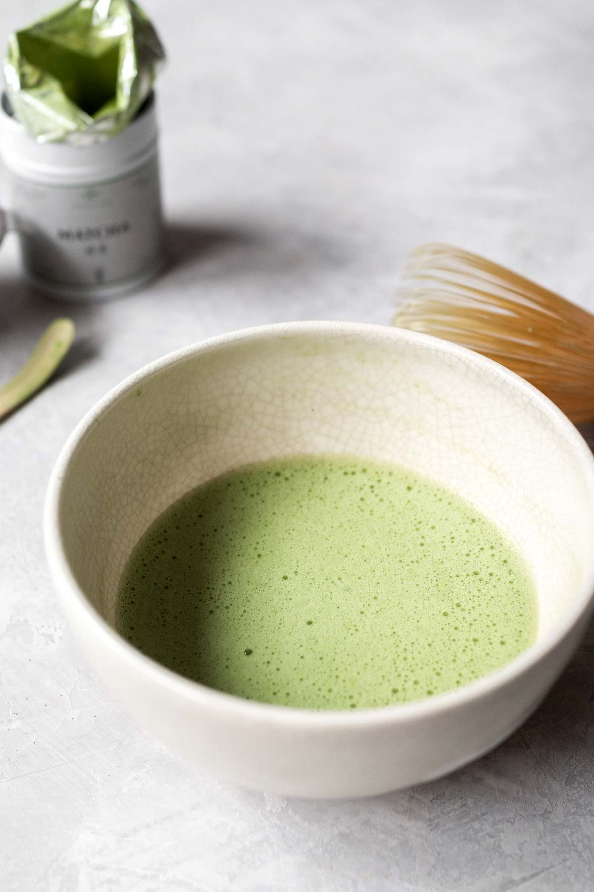 Whisked matcha in a bowl.