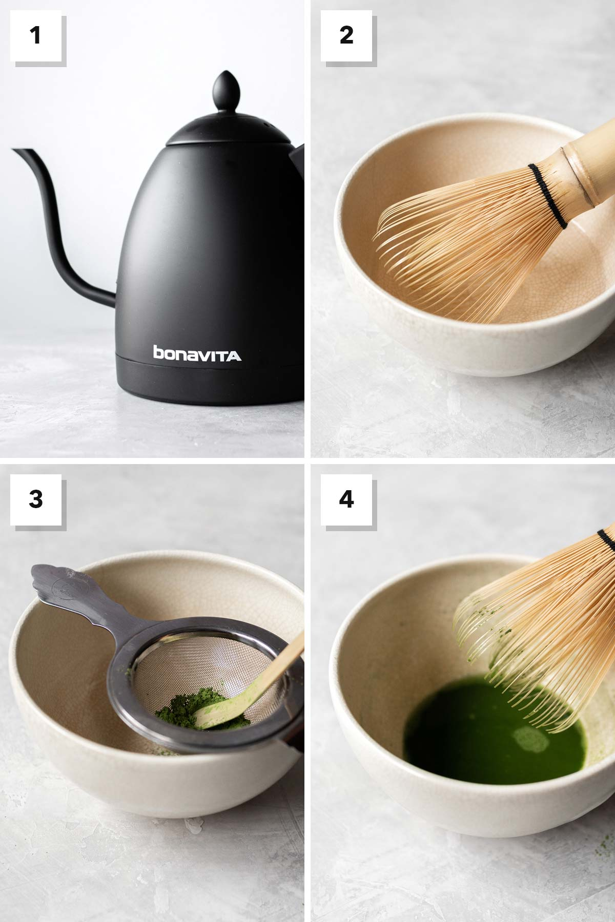 Four image collage showing steps to make matcha.