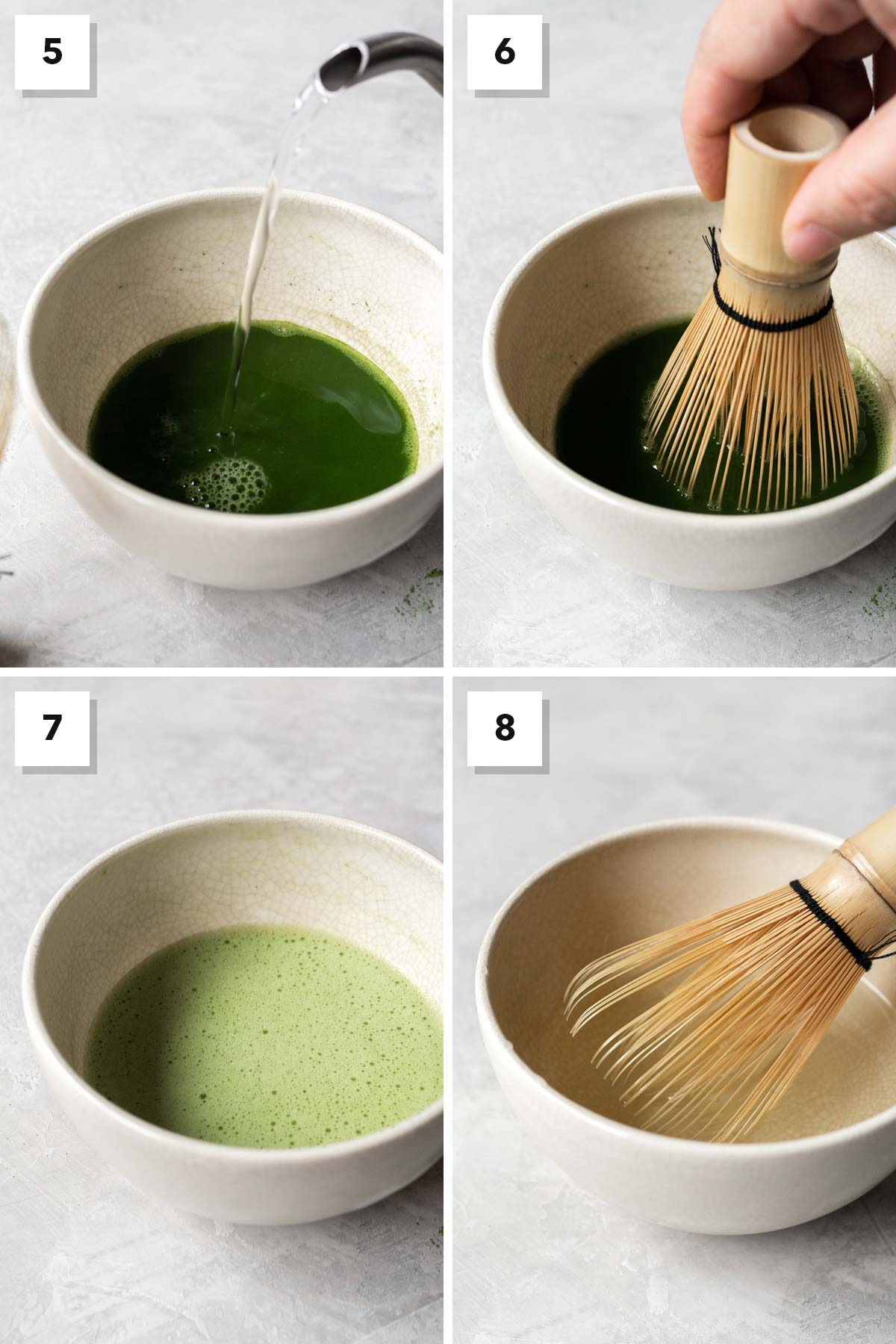 Four image collage showing steps 5-8 of making matcha.