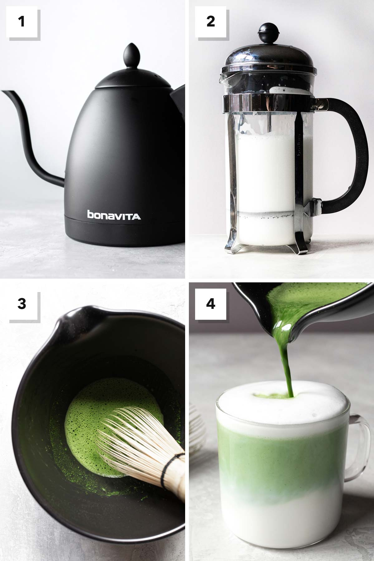 Four image collage showing steps to make a matcha latte.