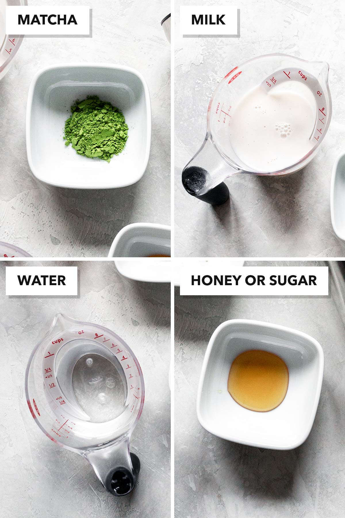Four collage image showing ingredients to make a matcha latte.