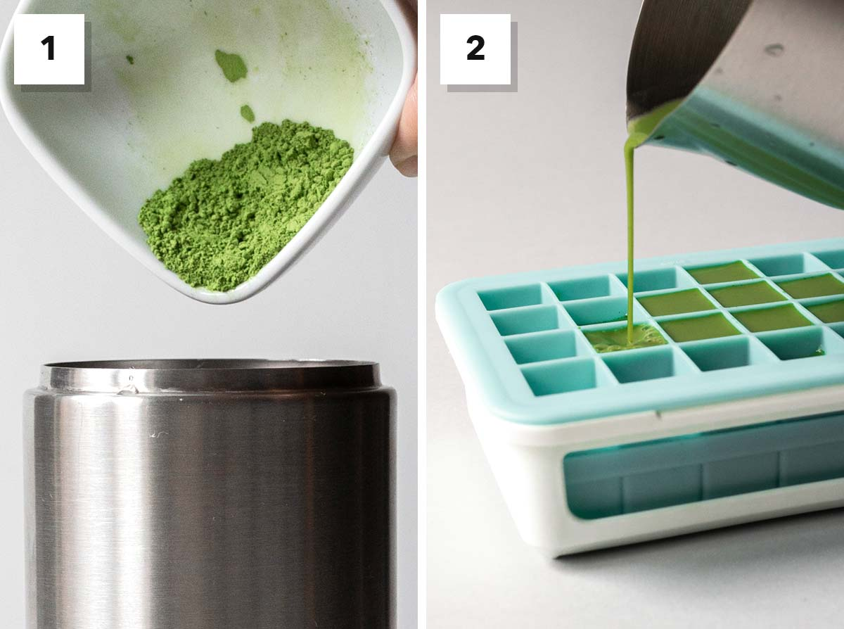 Two photos side by side of how to make matcha latte ice cubes.