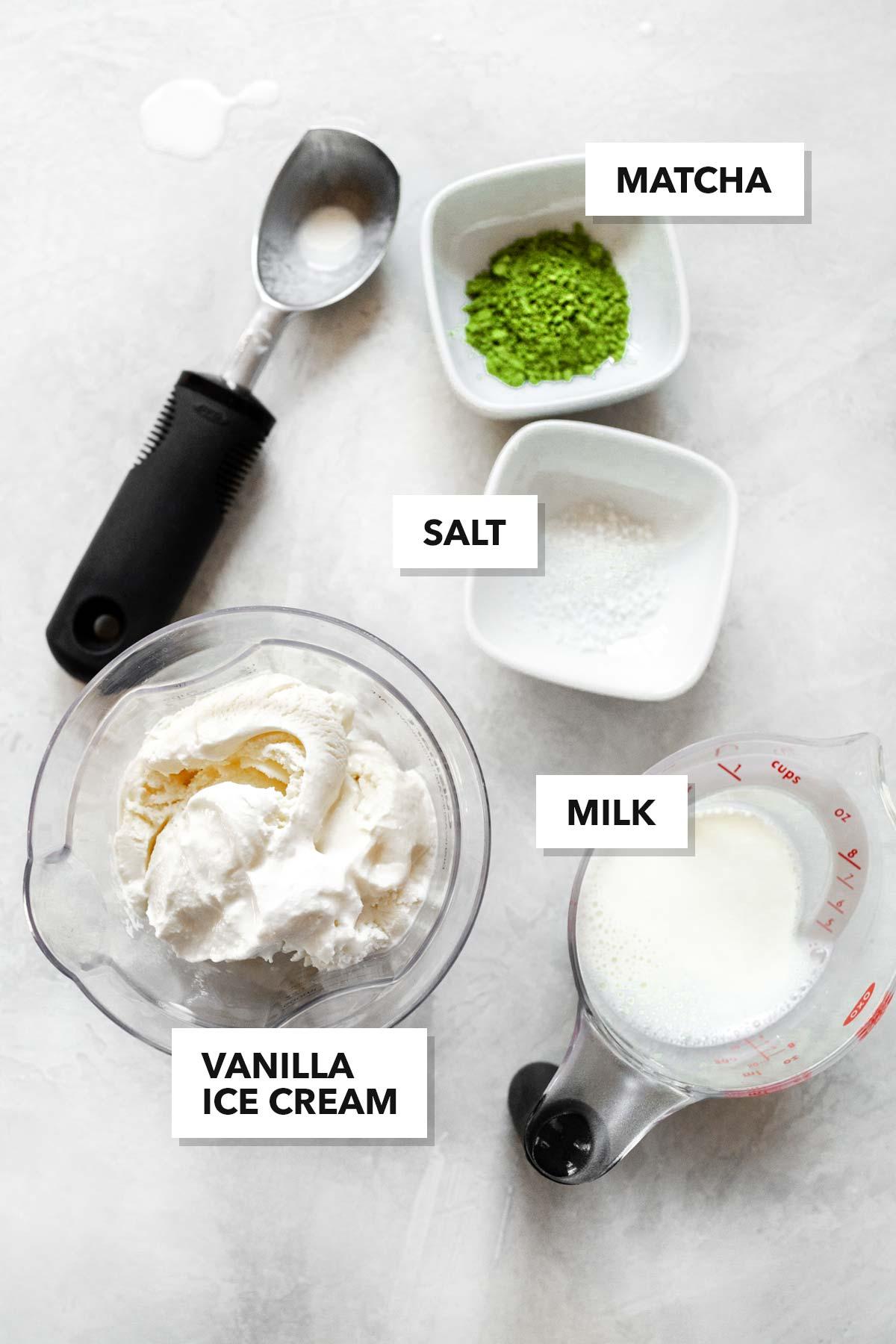 Matcha milkshake ingredients.