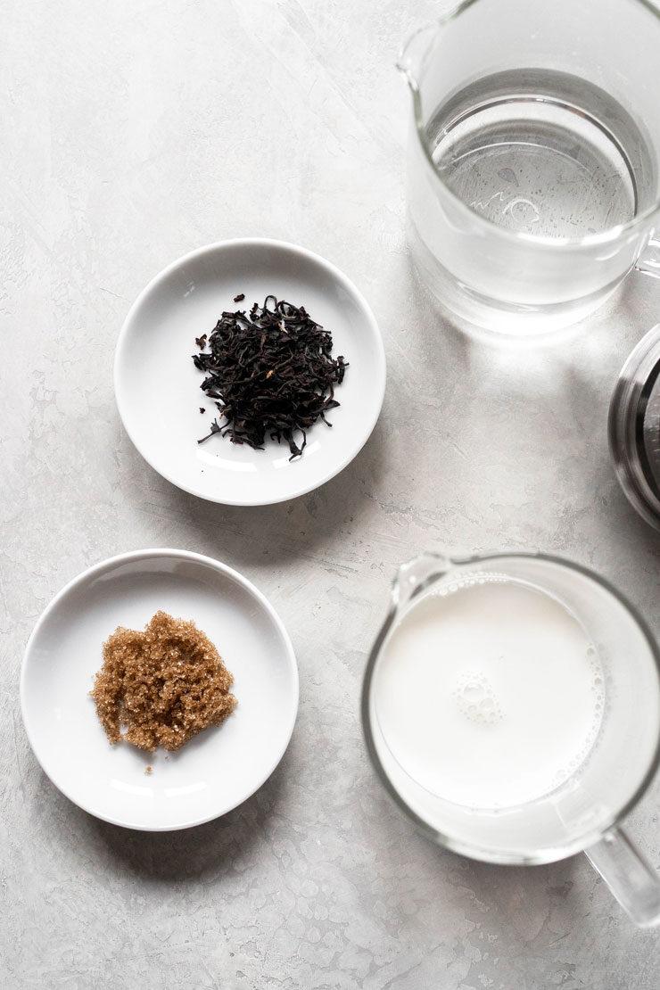 Milk tea ingredients.