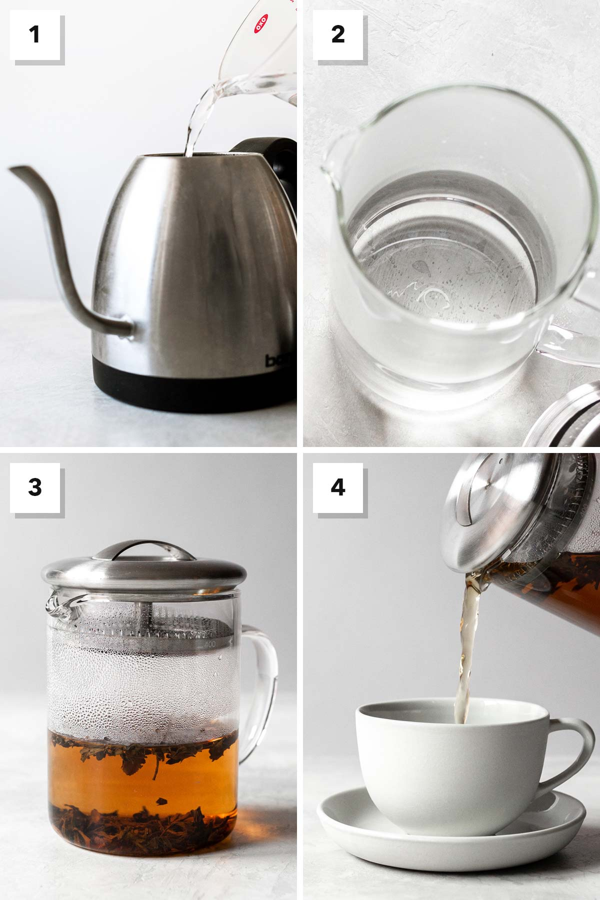 Four photo collage showing steps to make milk tea.