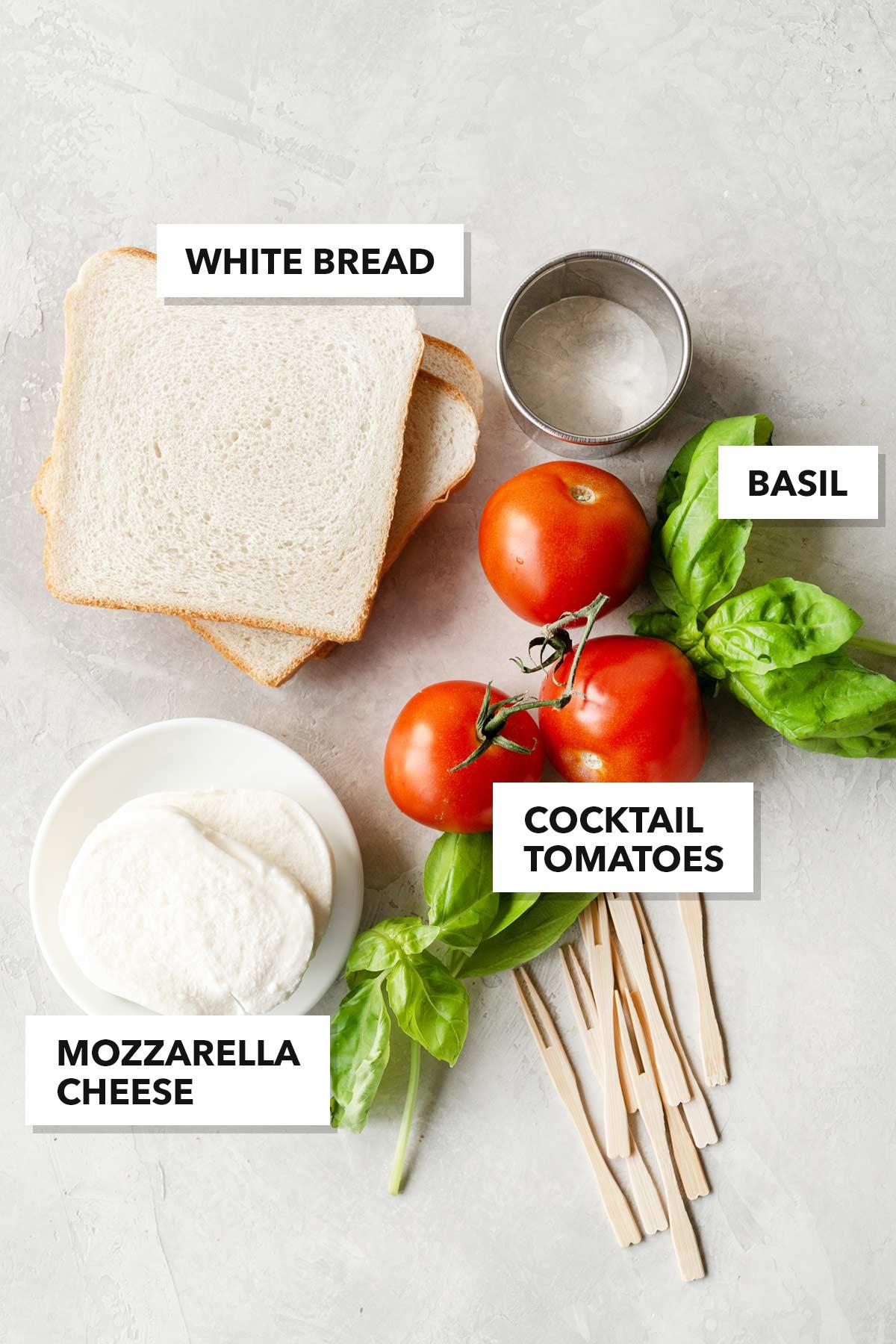Mozzarella, Tomato, & Basil tea sandwich ingredients.