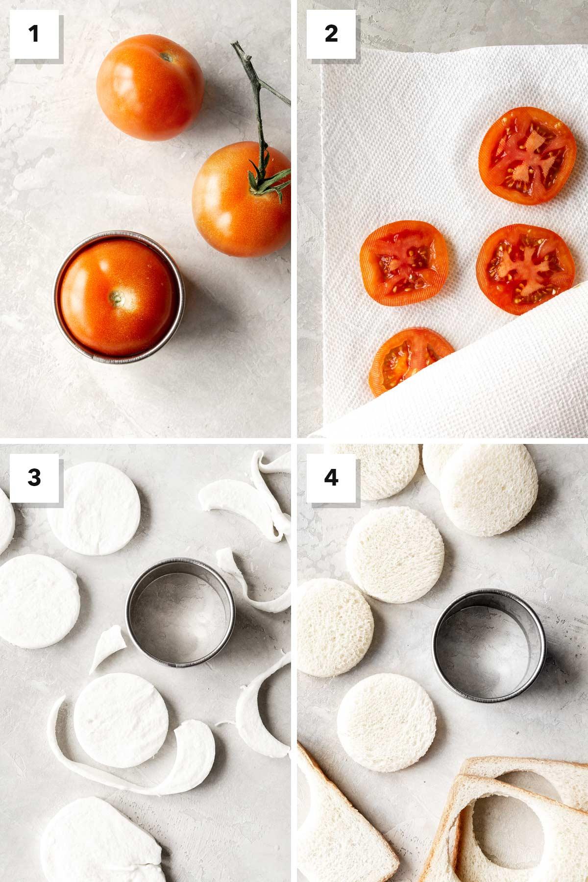 Four photo showing steps to make mozzarella, tomato, & basil tea sandwiches.