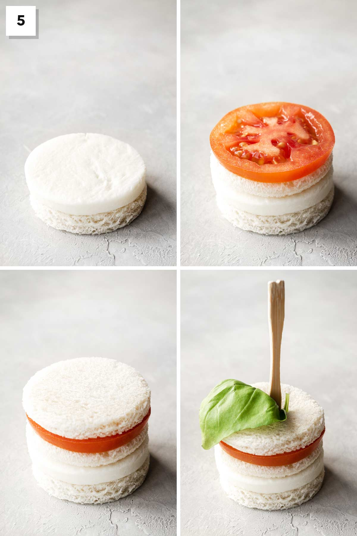 Four steps showing how to stack a mozzarella tea sandwich.