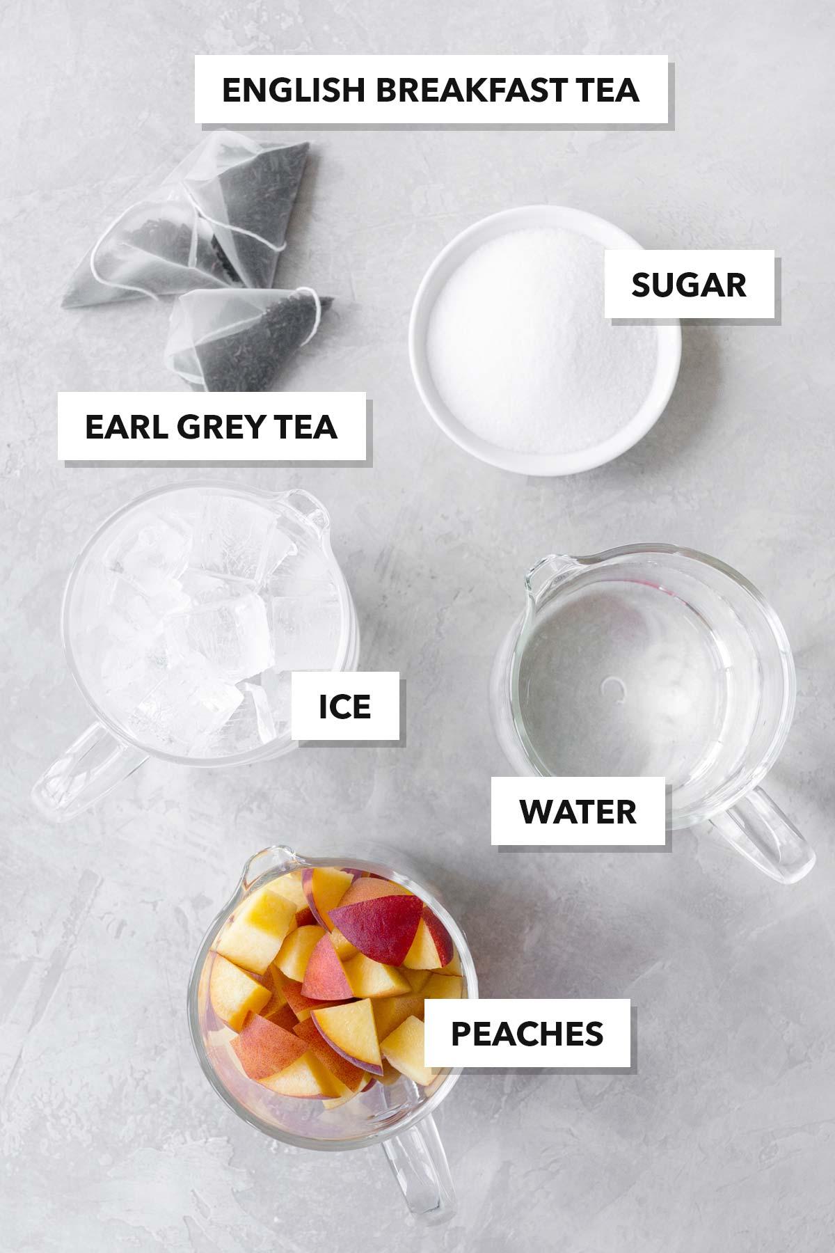 Peach iced tea ingredients.