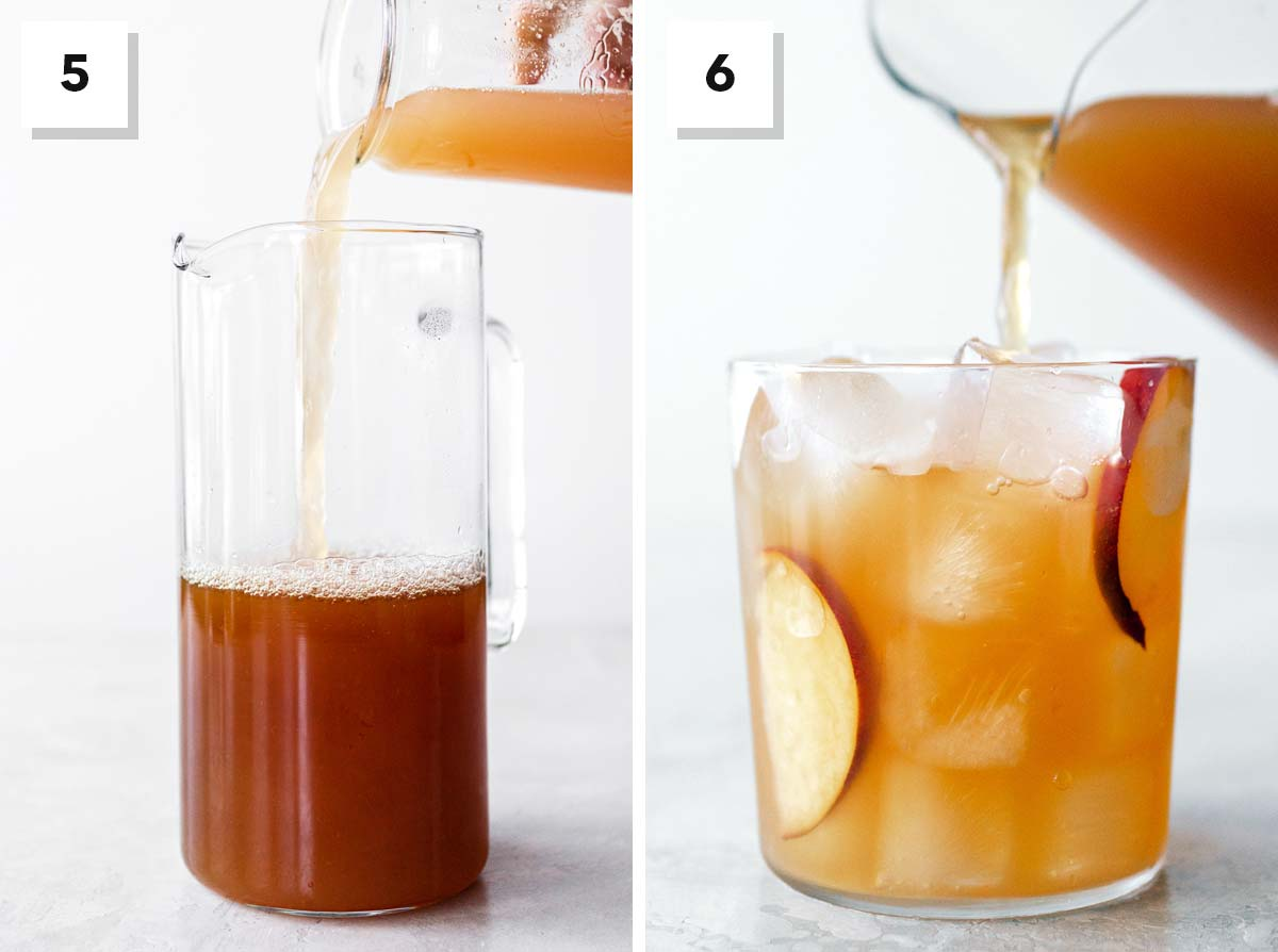 Two photo collage showing final steps to making peach iced tea.