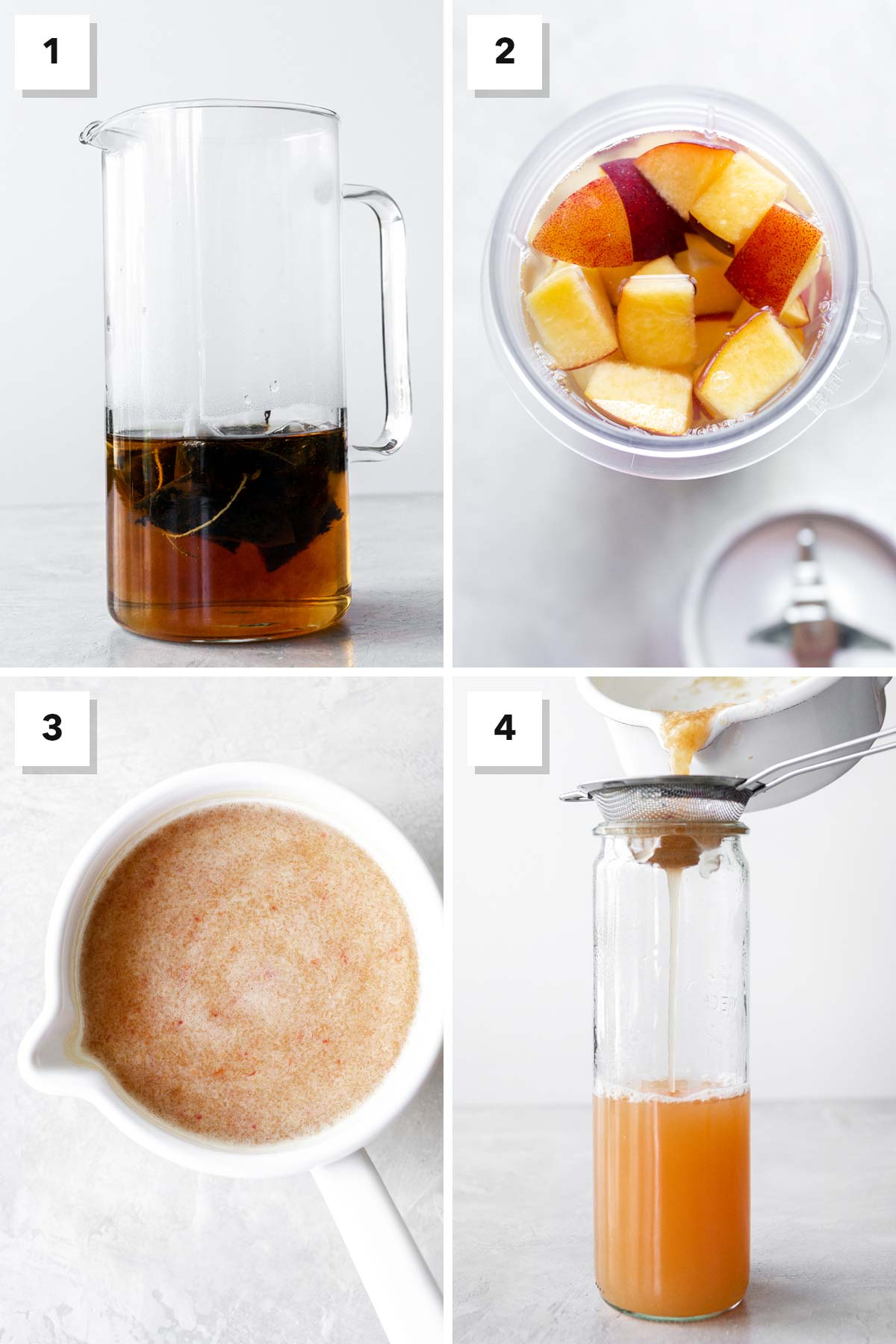 Four photo collage showing steps to make peach iced tea.