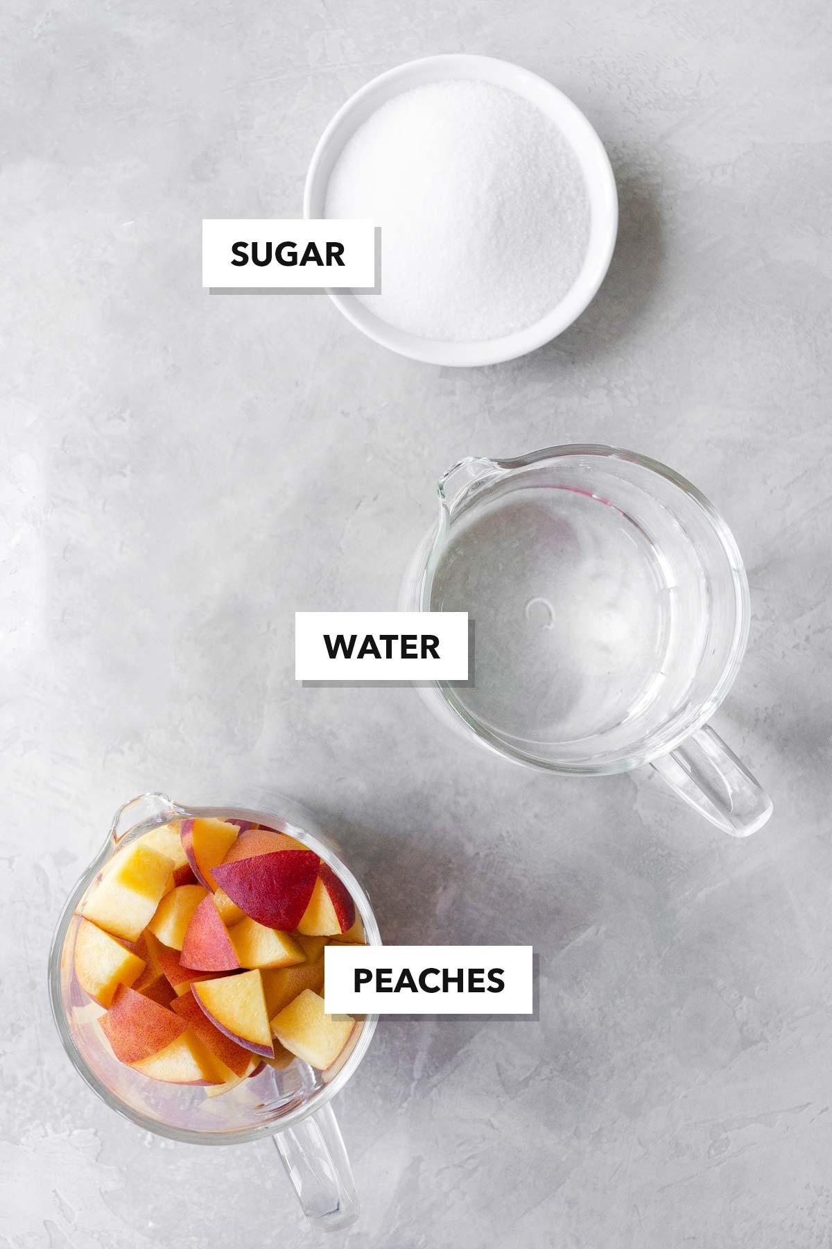 Peach syrup ingredients.