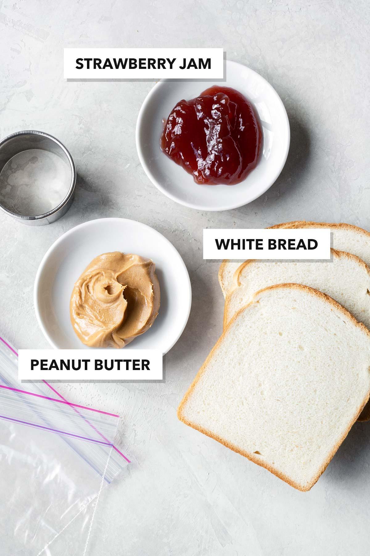 Peanut Butter & Jelly Tea Sandwich Ingredients.