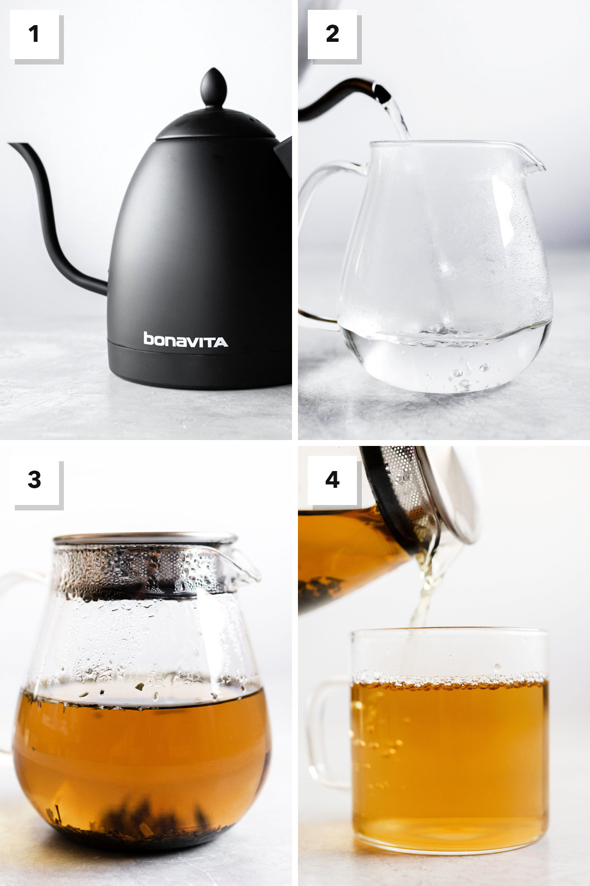 Four photo collage showing steps on how to make peppermint tea properly.