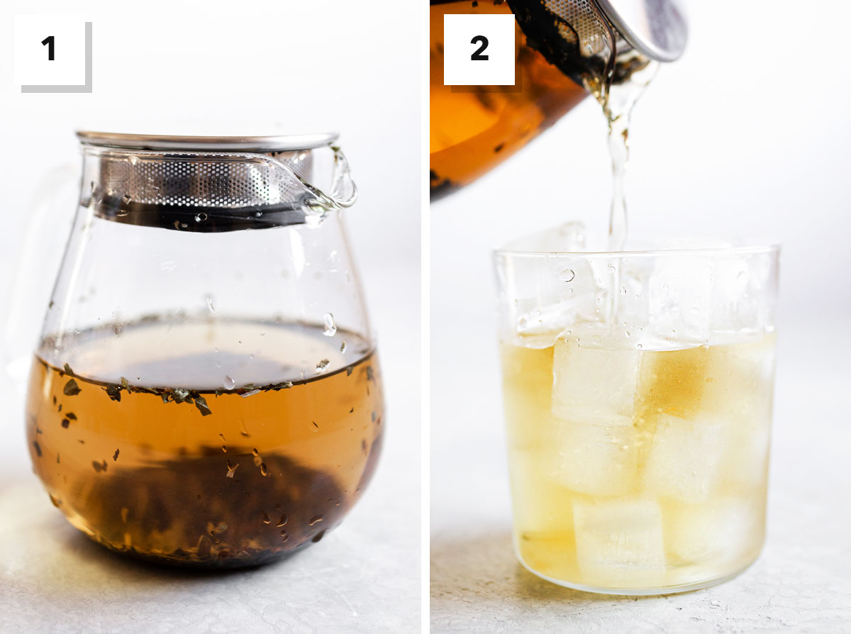 Two photos showing steps to make cold brewed peppermint tea.