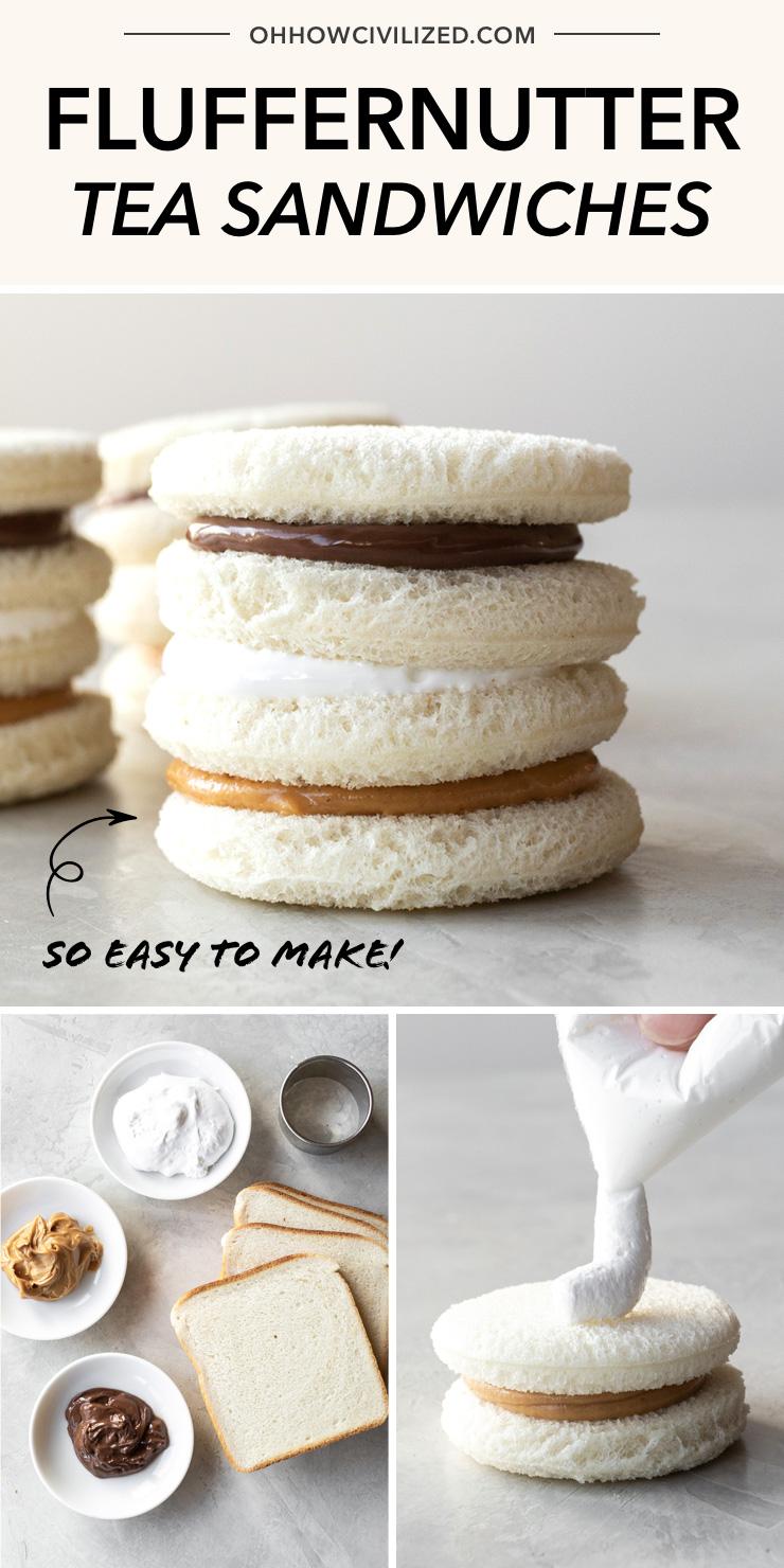 Easy Fluffernutter Tea Sandwiches | Perfect for children's tea parties!