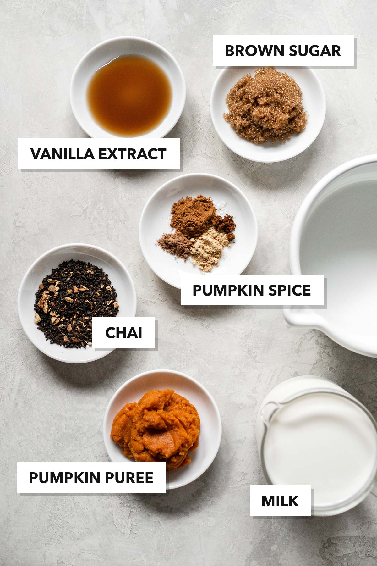 Pumpkin spice chai latte ingredients.