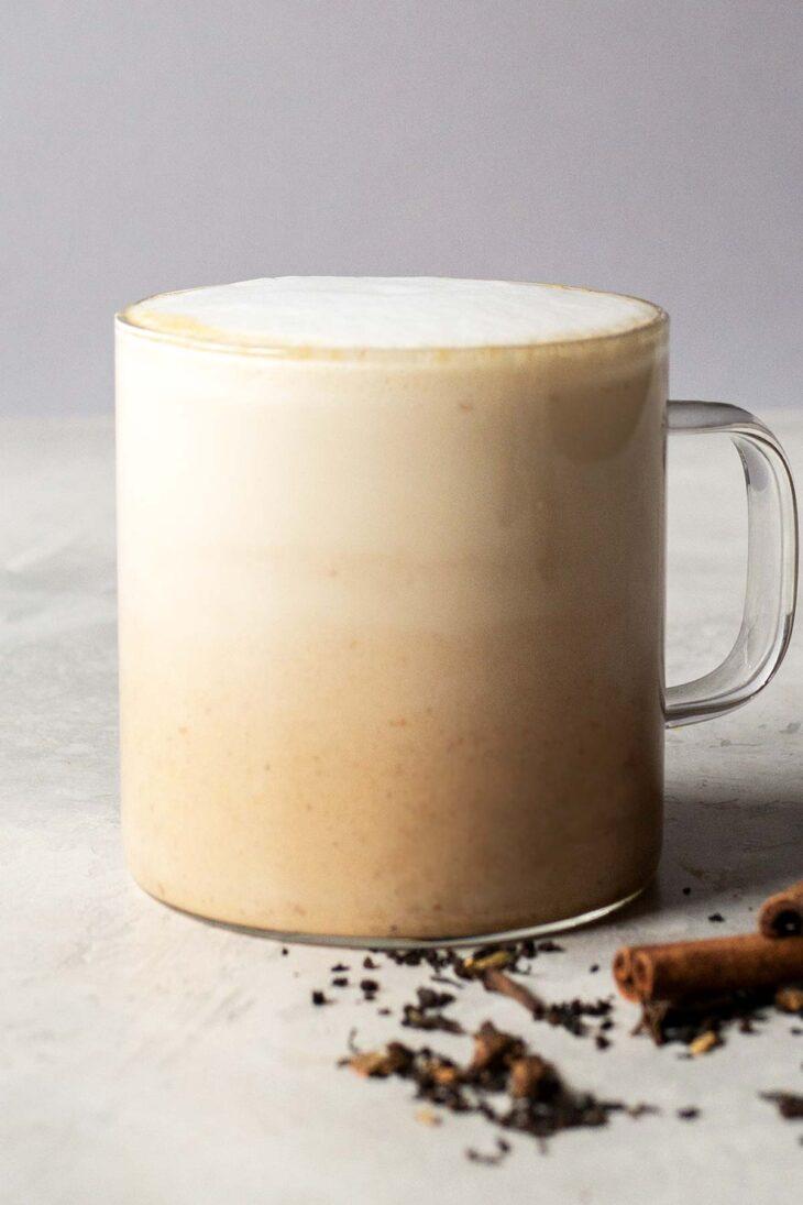 Pumpkin spice latte drink in a cup.