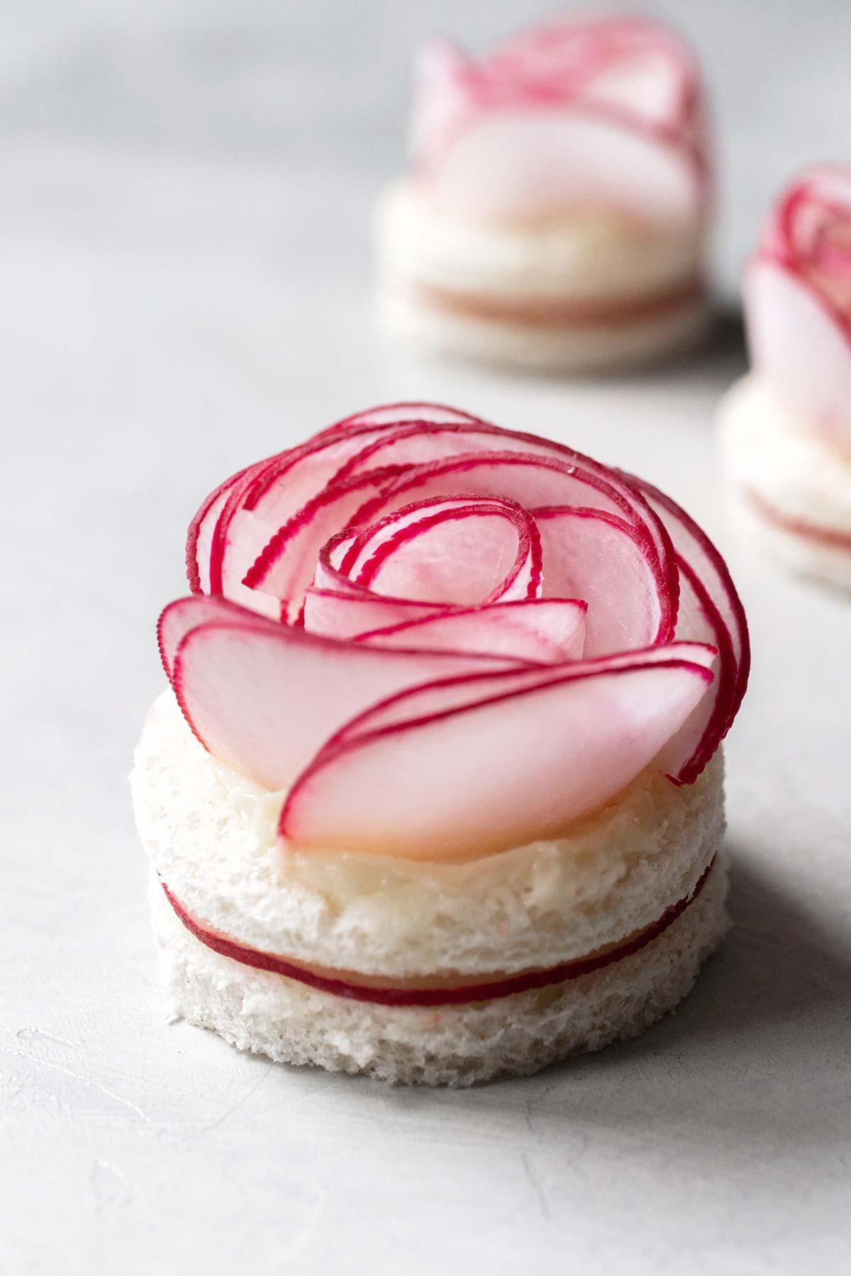 Radish rose tea sandwiches.