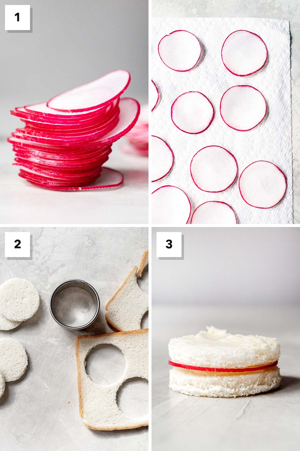 Four photo collate showing steps to make a radish tea sandwich.