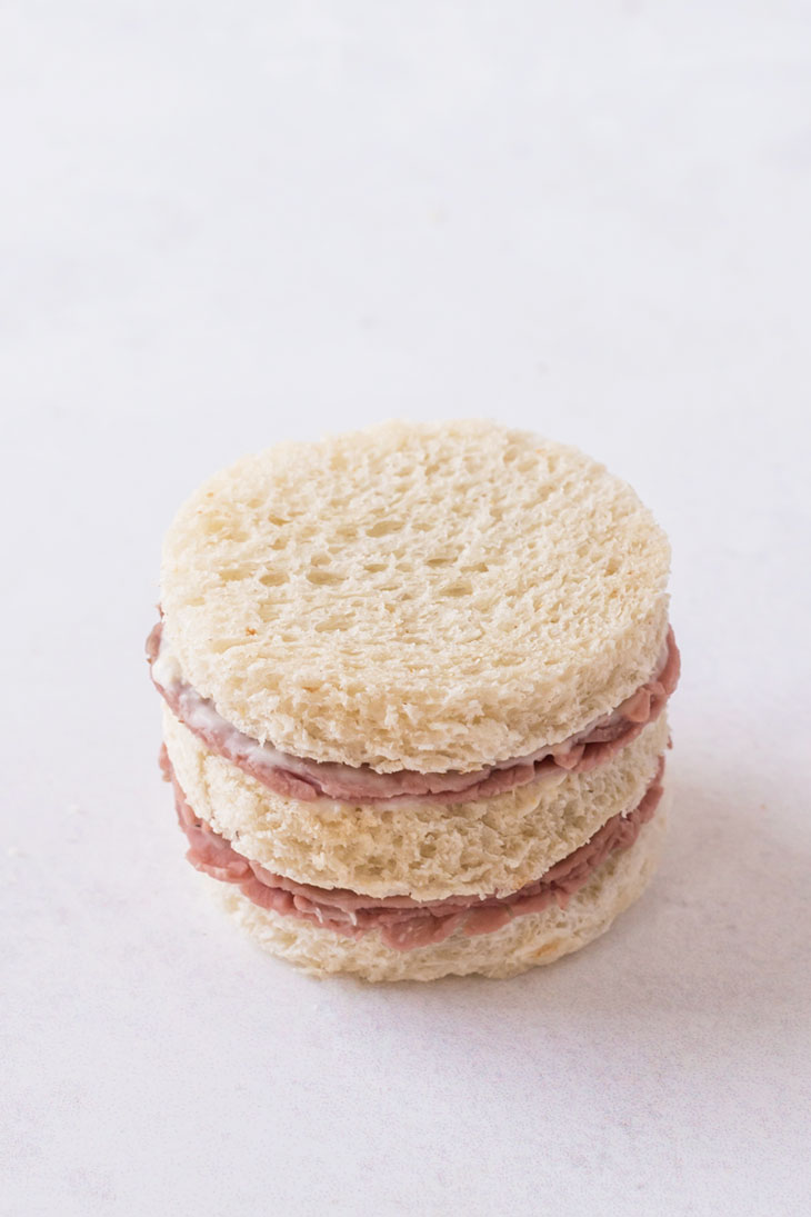 Assembling and stacking tea sandwiches
