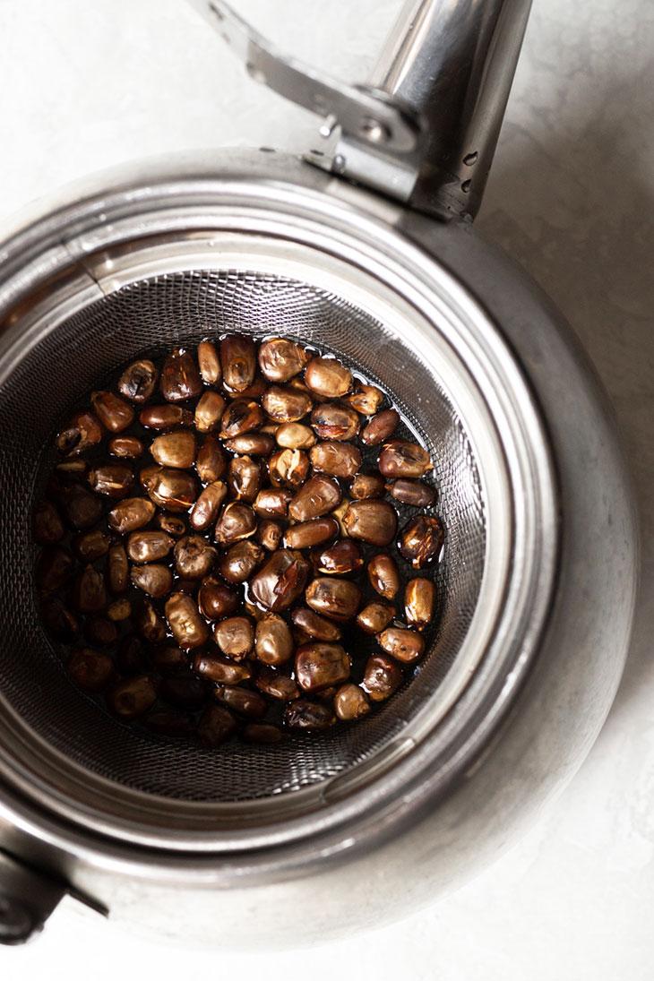 Roasted corn tea in a kettle