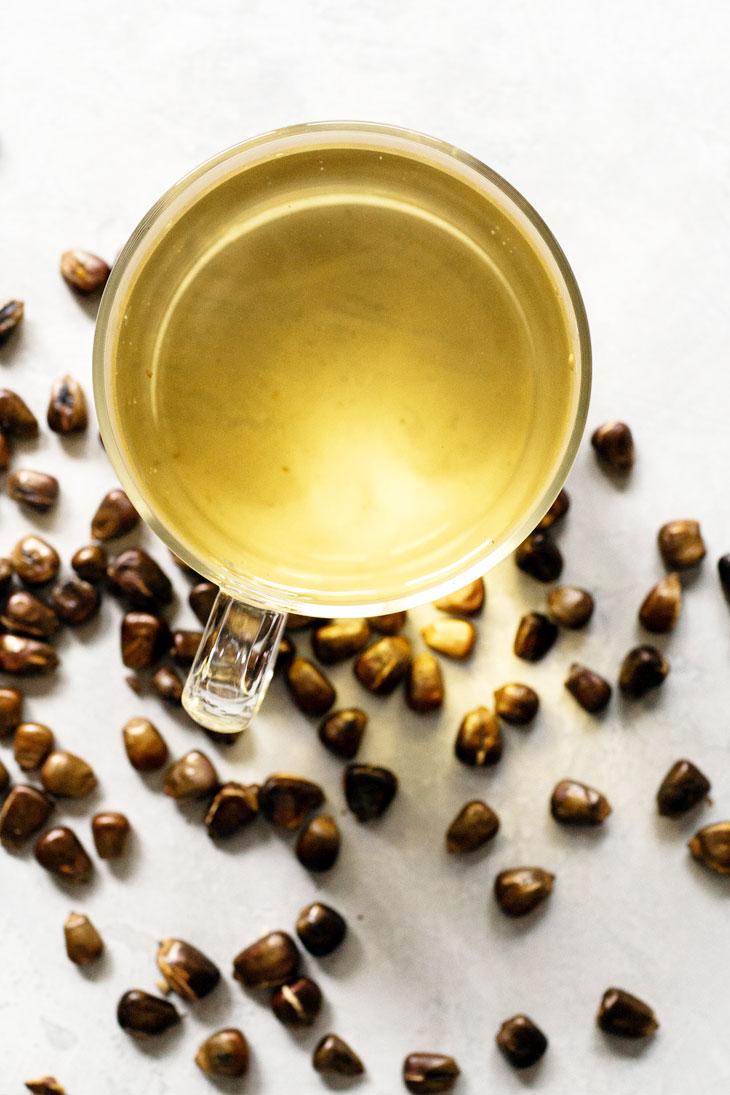 Roasted corn tea in a glass mug