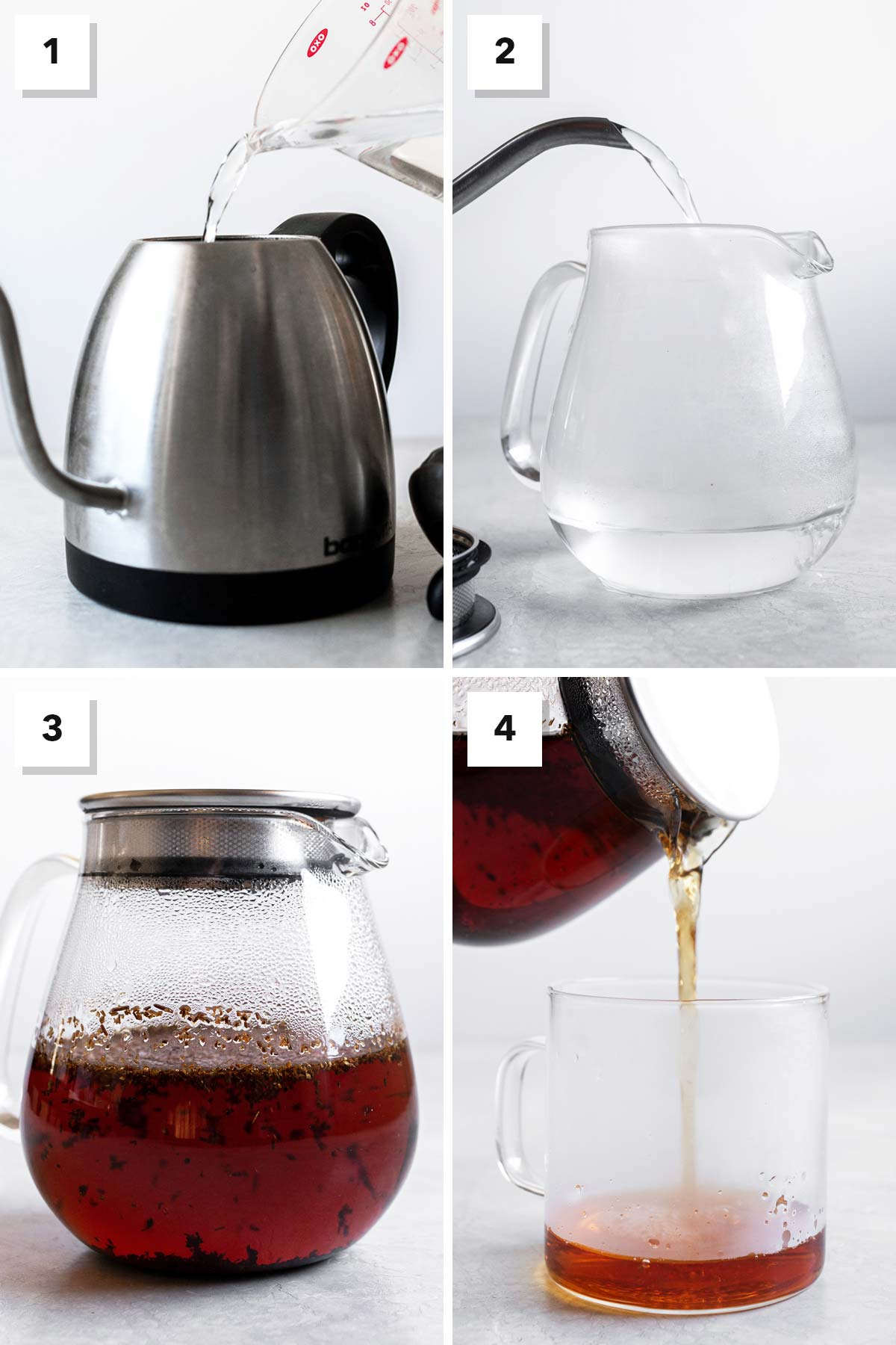Four images showing steps to make rooibos tea.