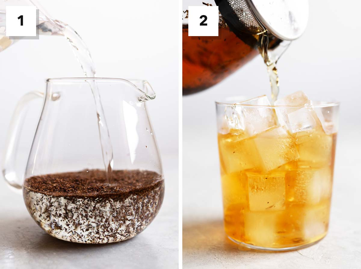 Two photos showing how to make iced cold brew rooibos tea.