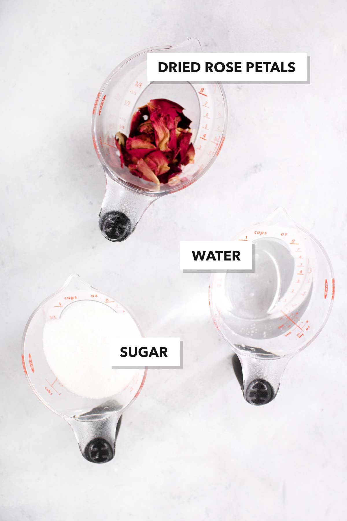 Rose syrup ingredients.