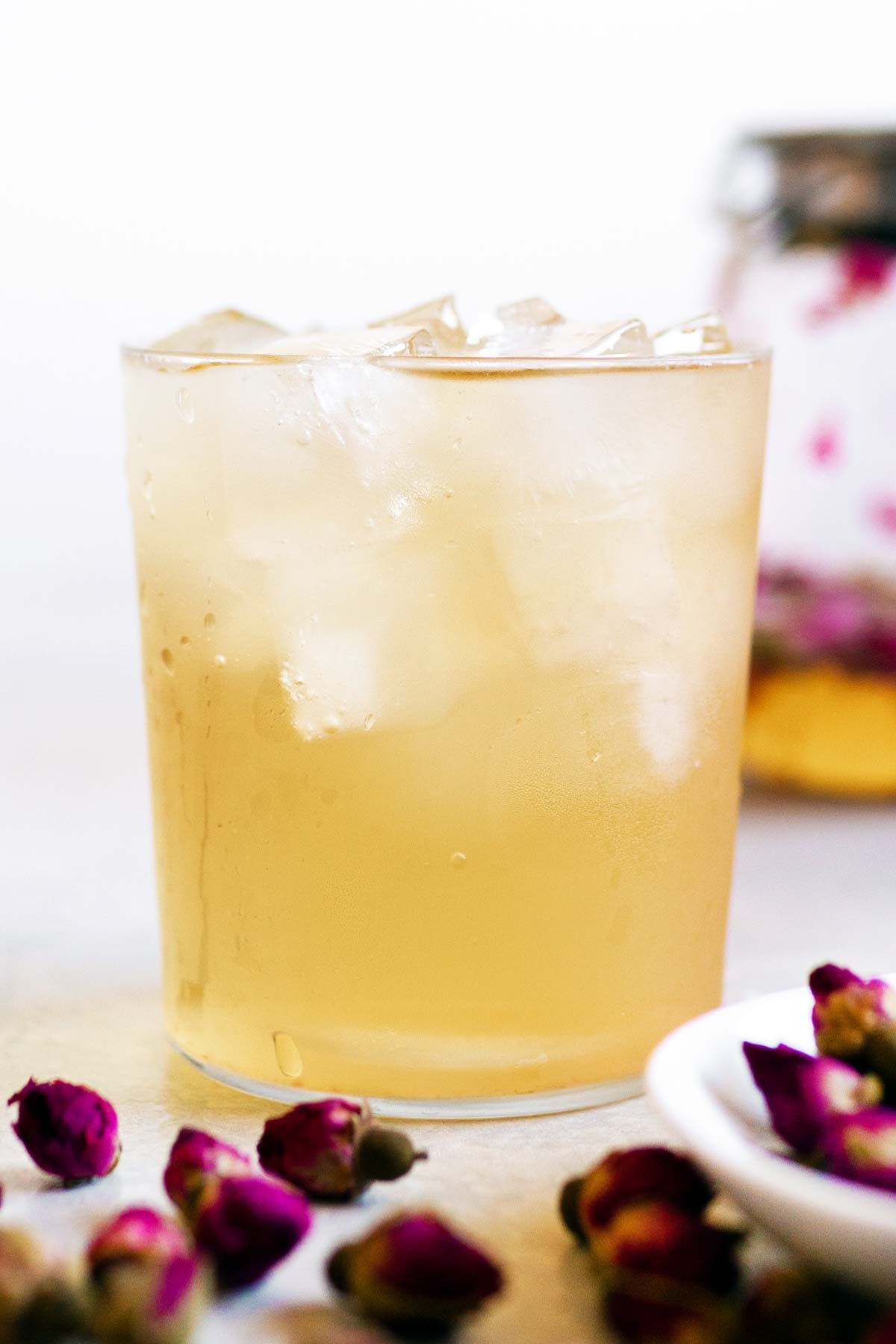 Iced rose tea in a glass.